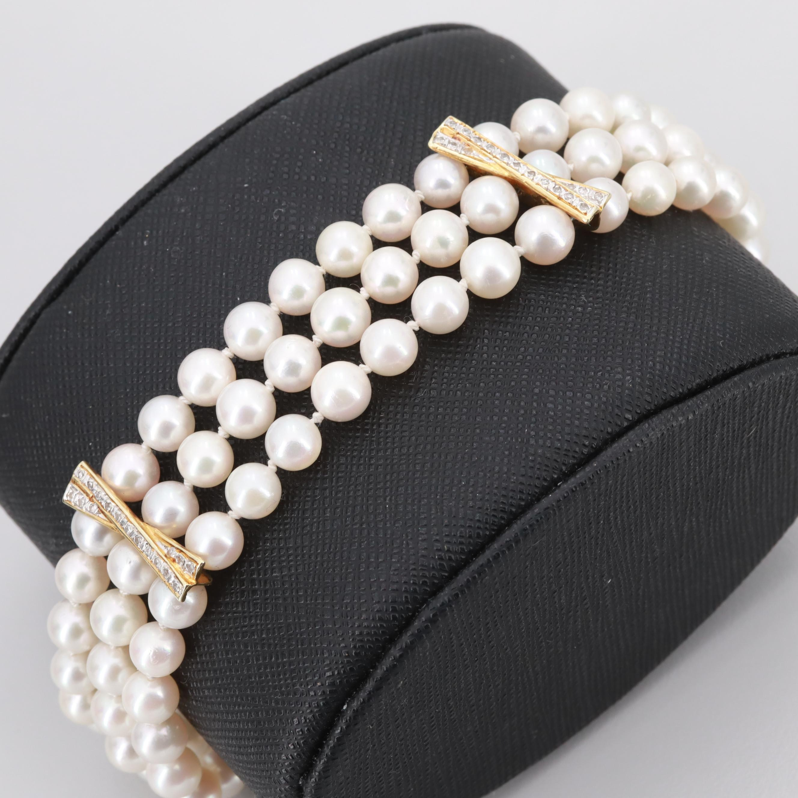 14K Yellow Gold Cultured Pearl and Diamond Triple Stranded Bracelet