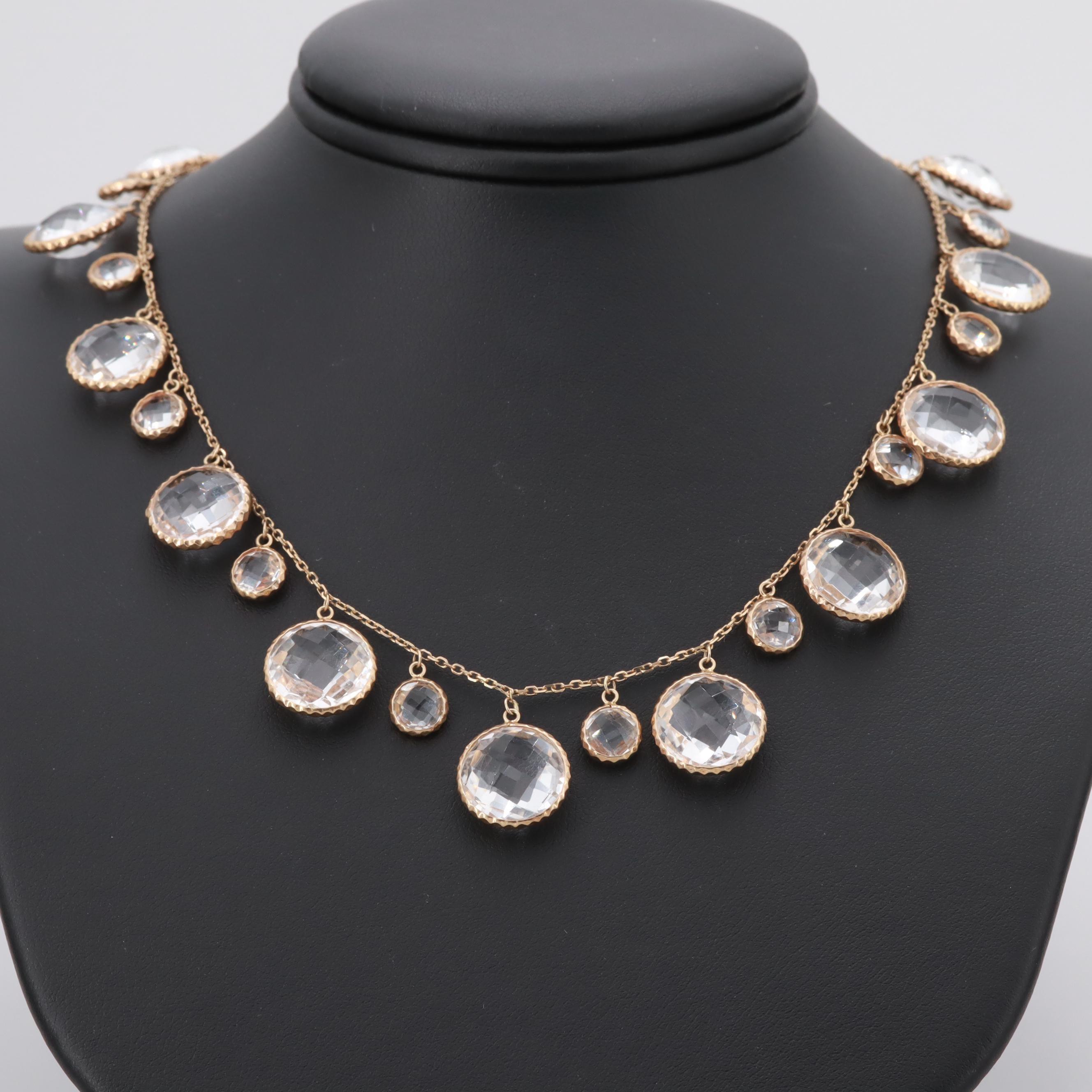 14K Yellow Gold Quartz Crystal Station Necklace