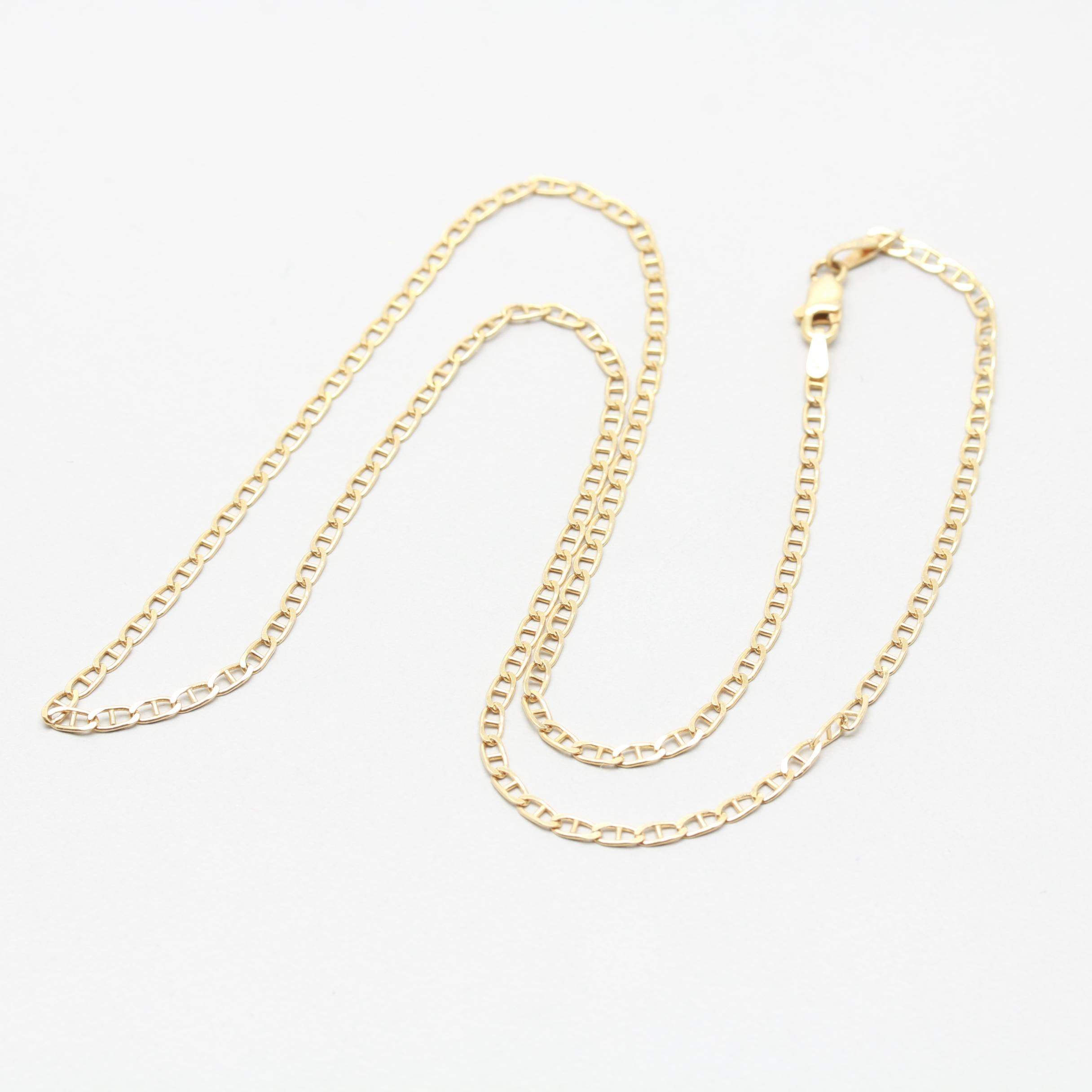 14K Yellow Gold Anchor Chain Necklace