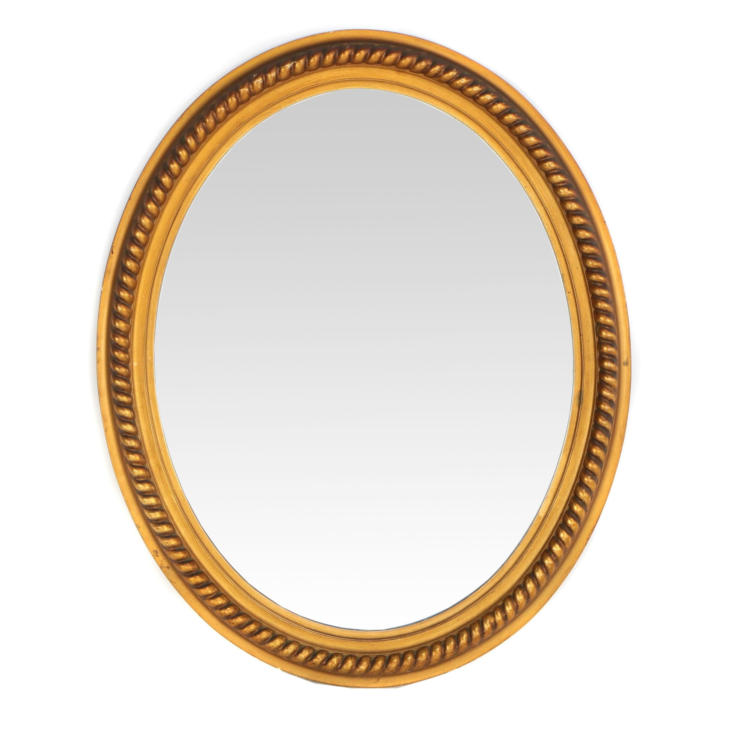 Neoclassical Giltwood and Gesso Oval Wall Mirror, 20th Century