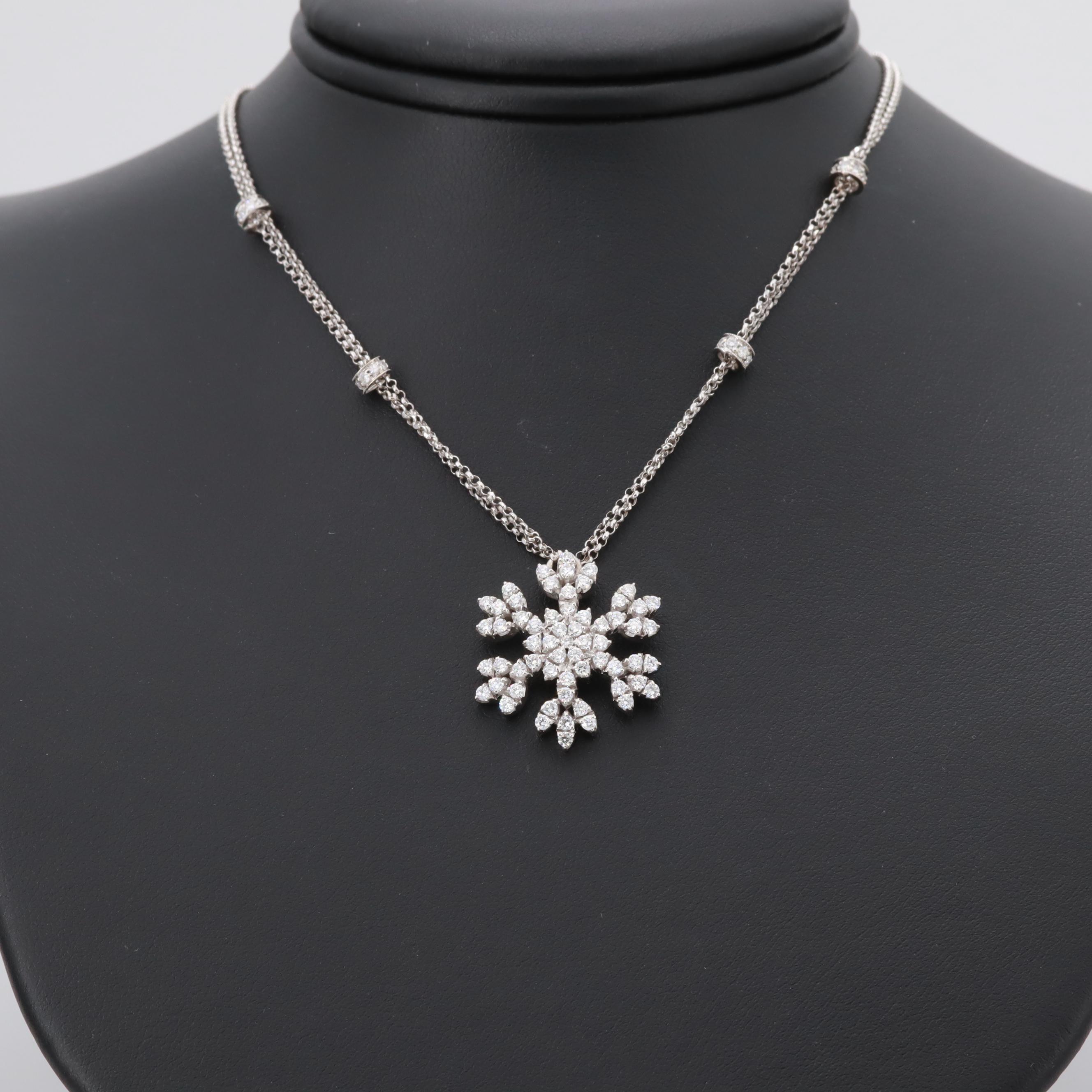 18K White Gold 1.38 CTW Diamond Snowflake Pendant Necklace