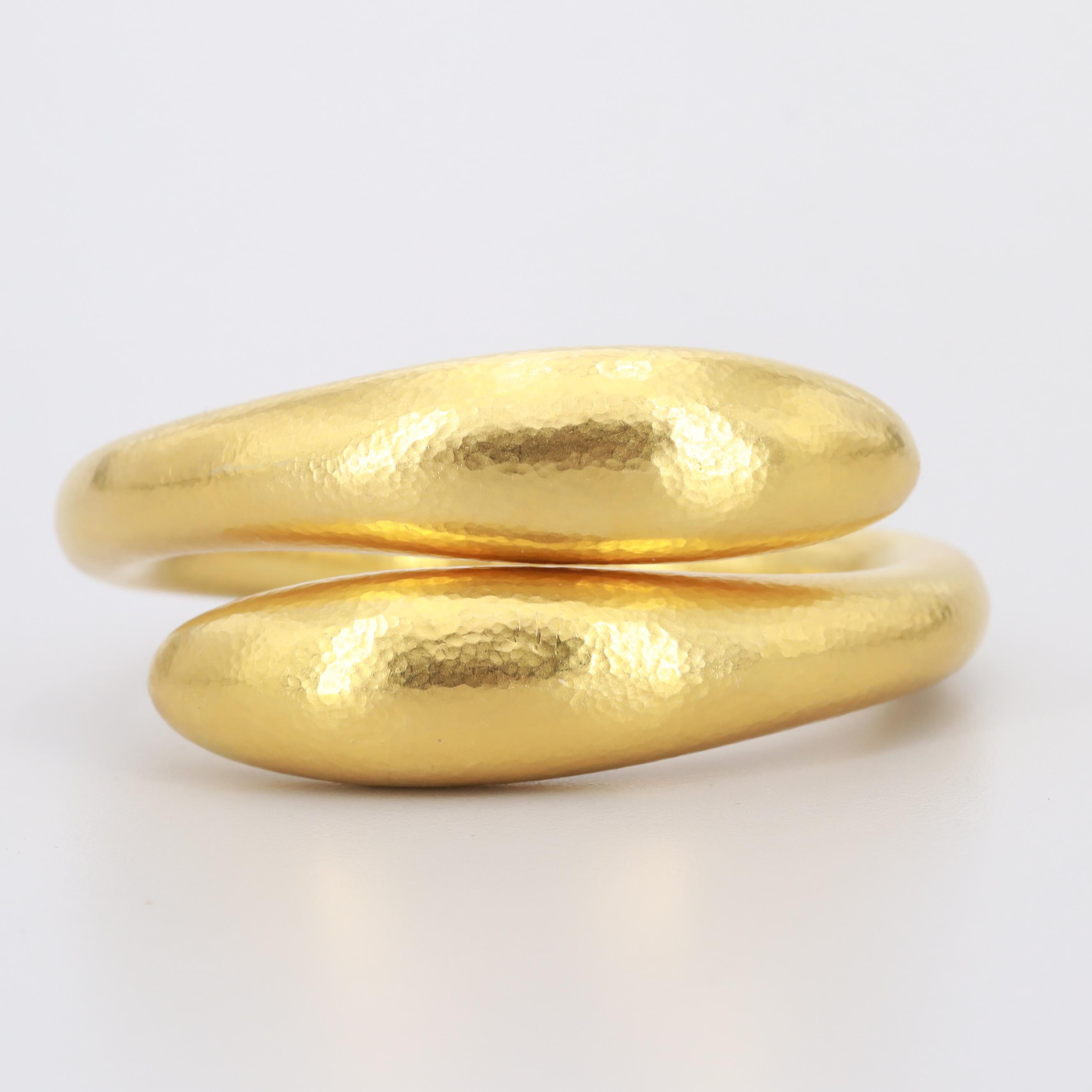 Ilias Lalaounis 18K Yellow Gold Hammered Hinged Bypass Bracelet