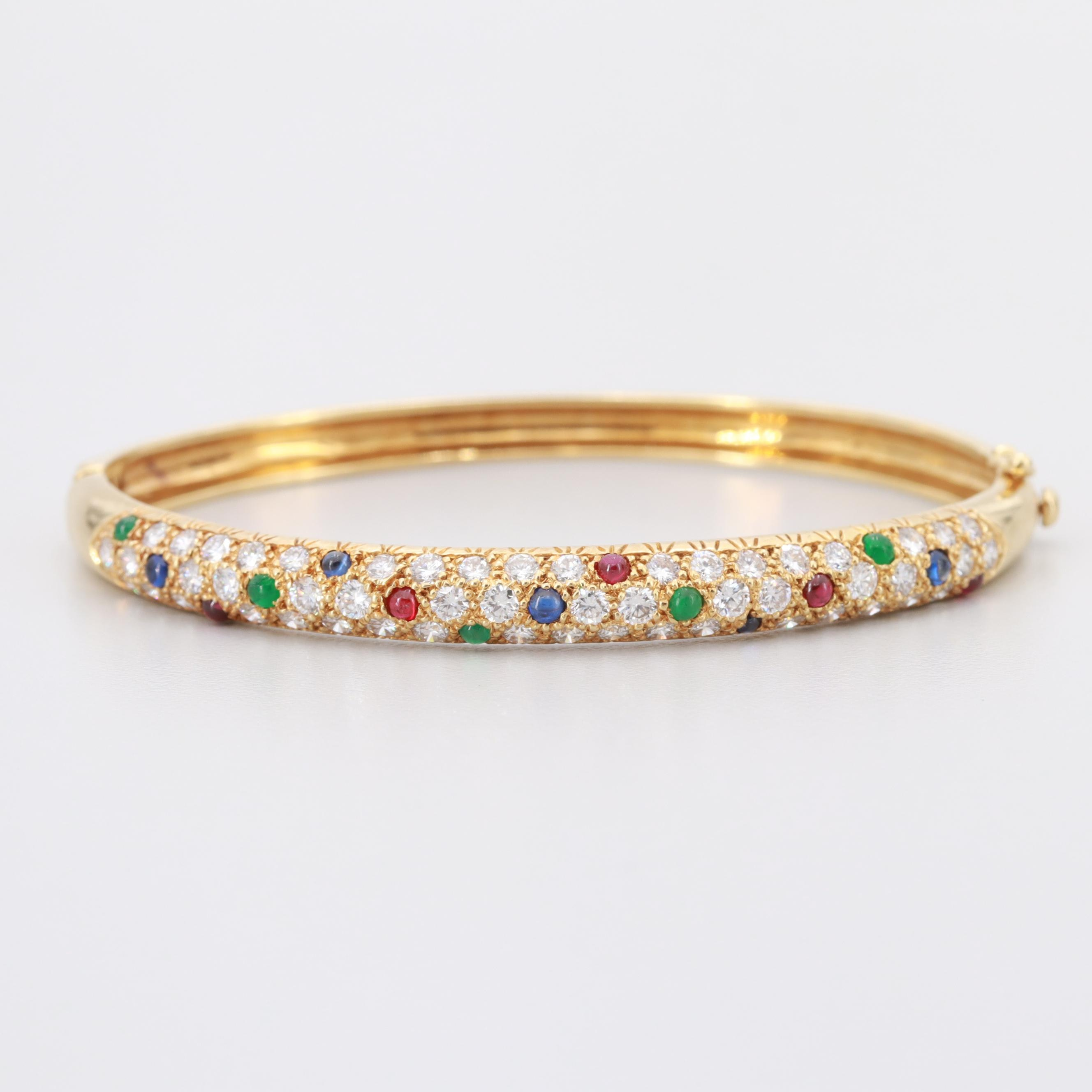 18K Yellow Gold 2.73 CTW Diamond, Sapphire, Ruby and Emerald Hinged Bracelet