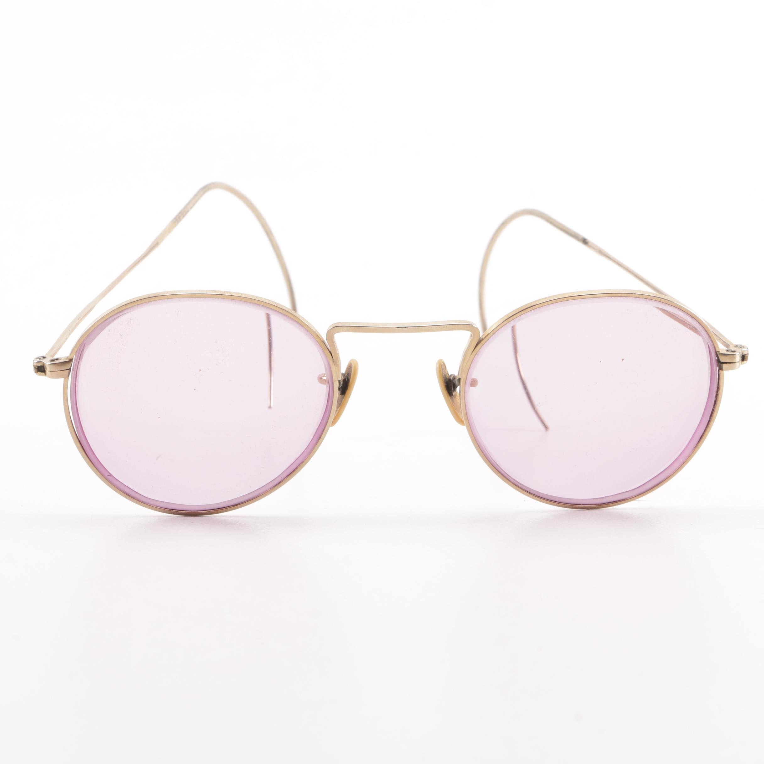 Vintage Shuron Gold Filled Round Glasses with Purple Tinted Lenses