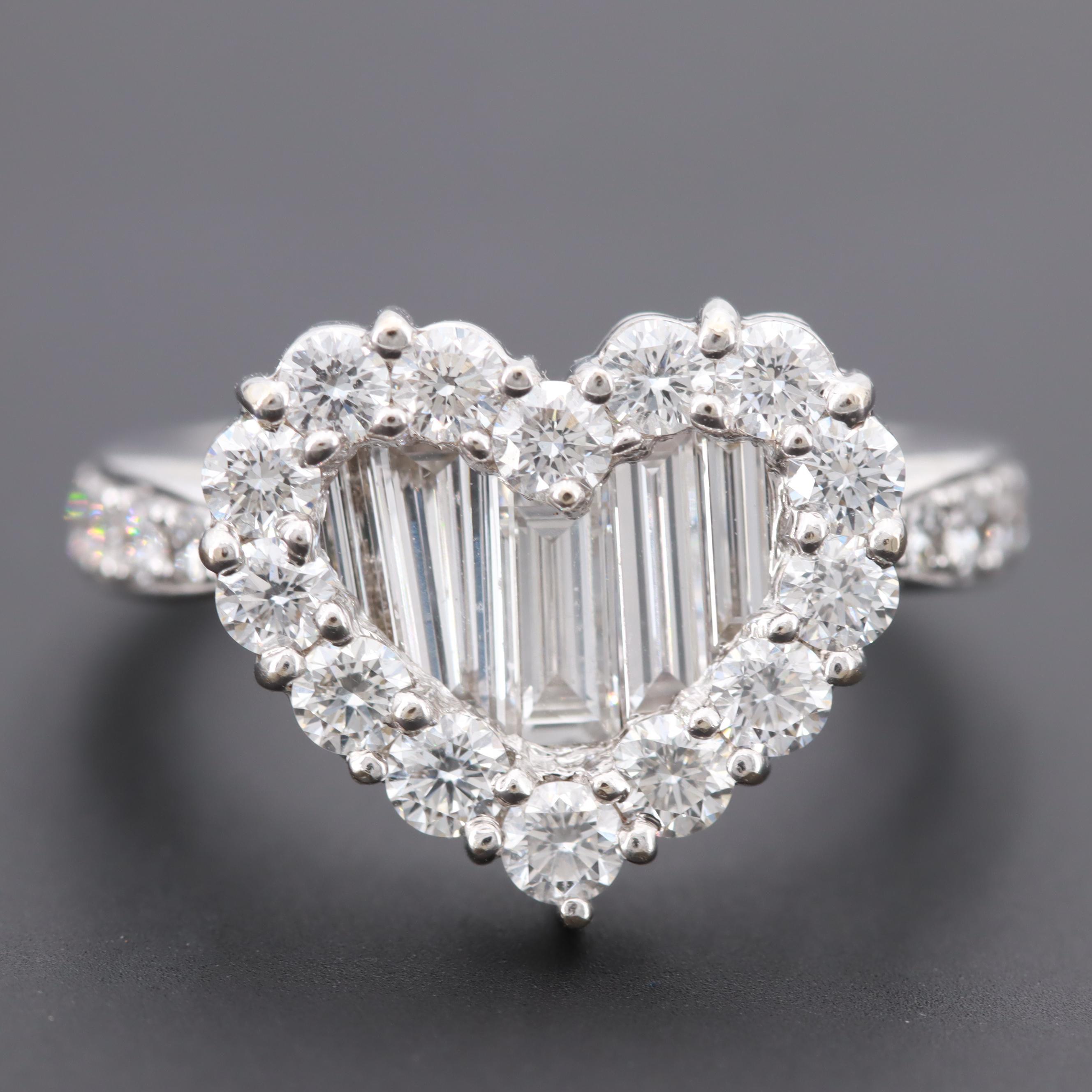 18K White Gold 2.48 CTW Diamond Heart Ring