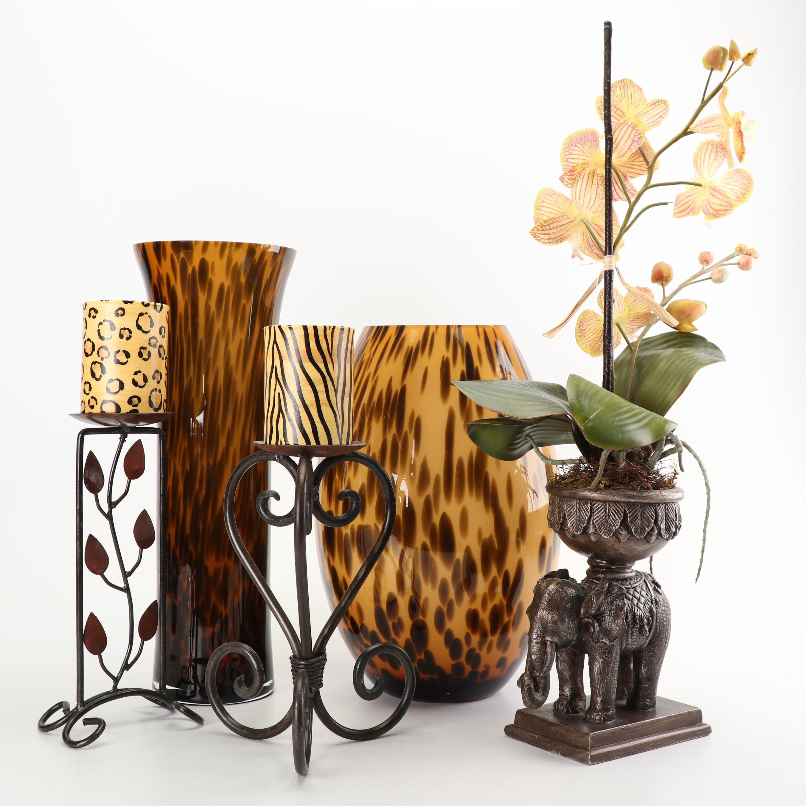 Animal Print Vases, Candle Holders, and Other Decor