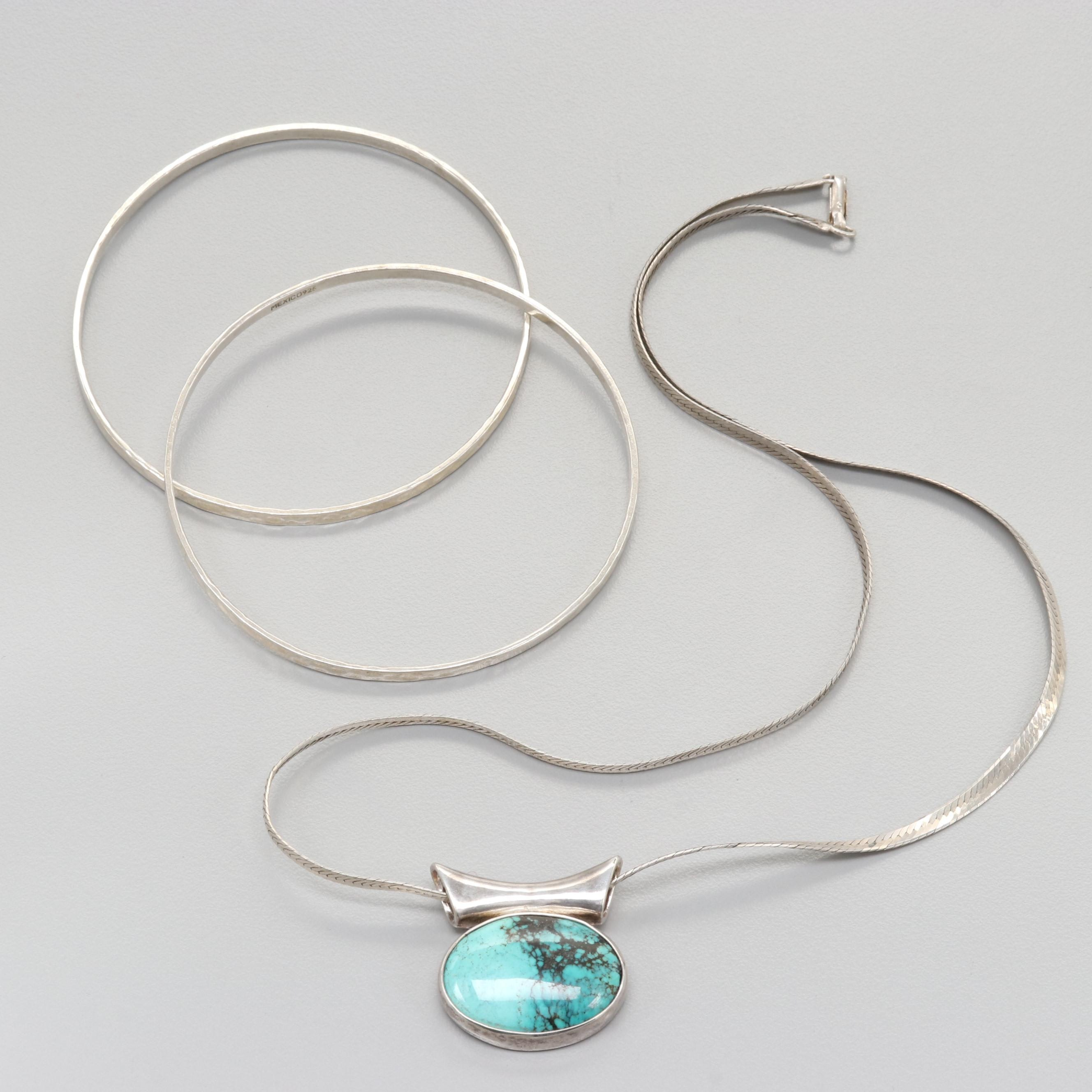 Sterling Silver Turquoise Necklace and Bracelets