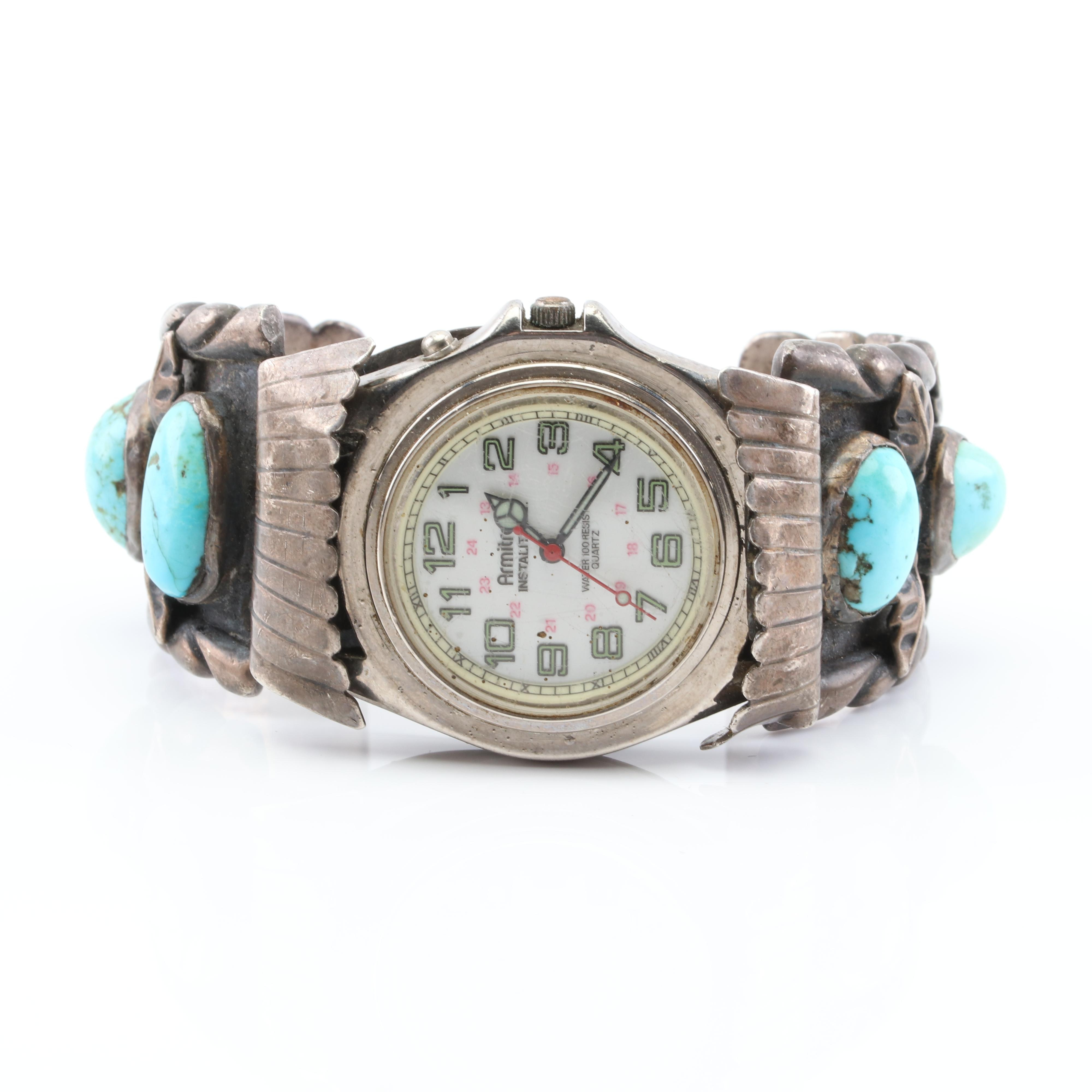 Sterling Silver Southwestern Style Turquoise Wristwatch with Amitron Dial