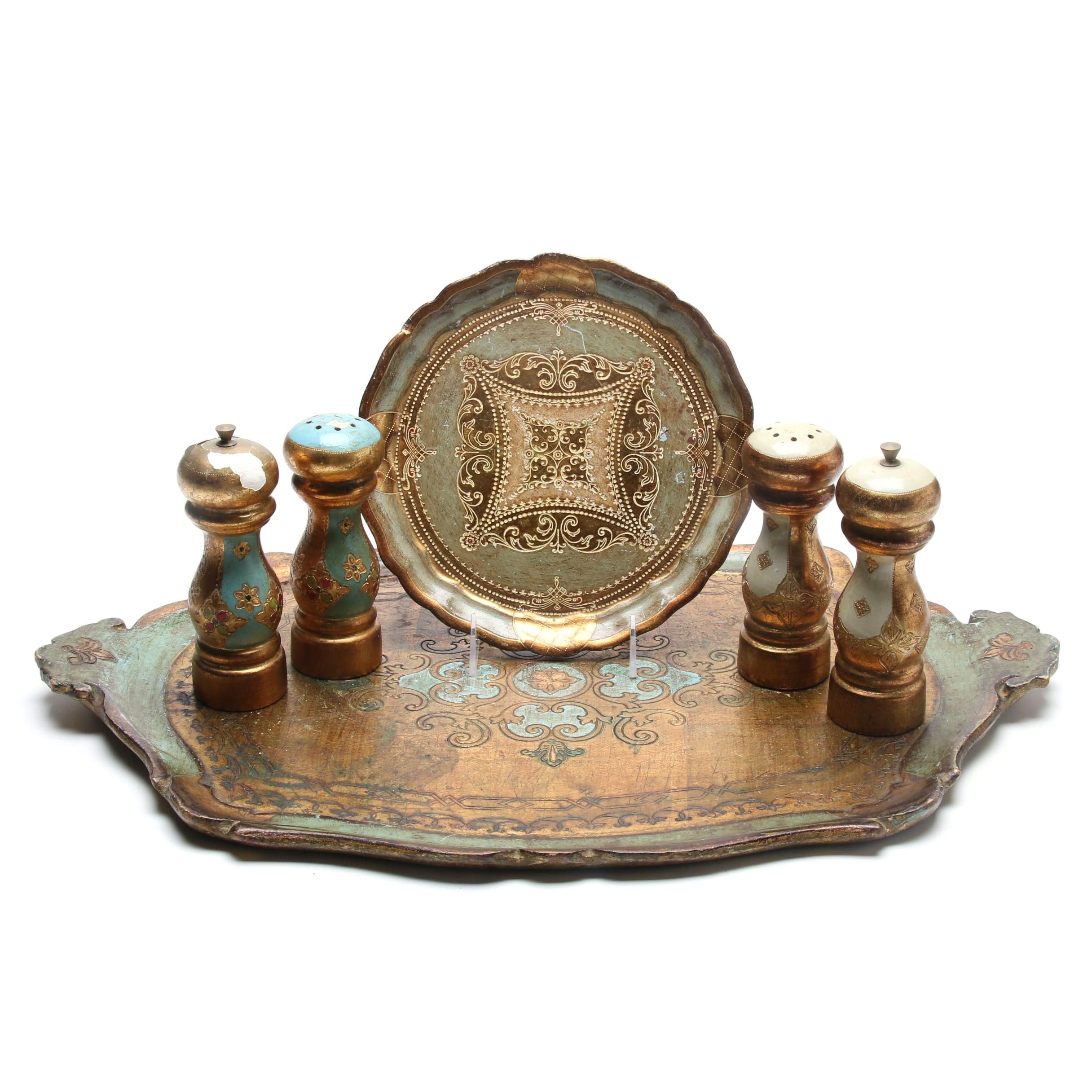 Handmade Italian Wooden and Gold Leaf Tableware