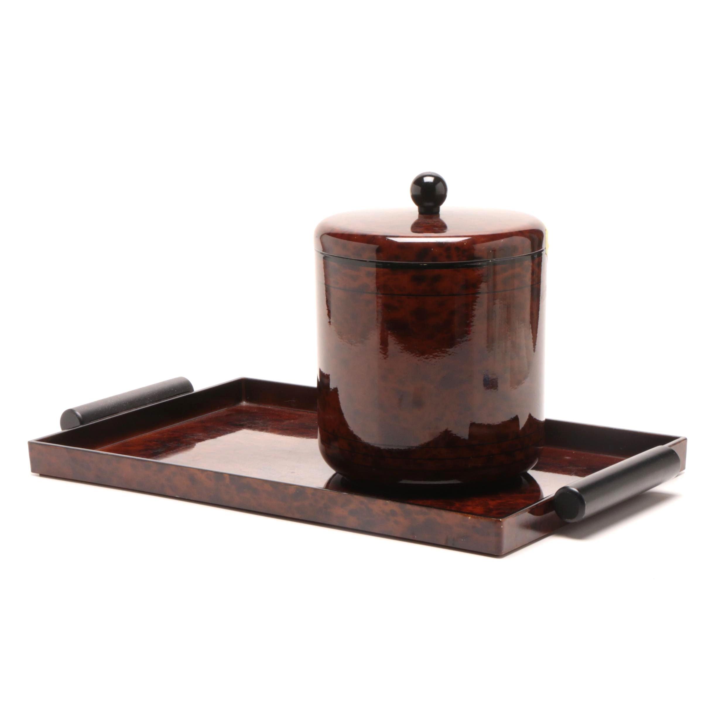 Nancy Calhoun Lacquerware Serving Tray and Ice Bucket