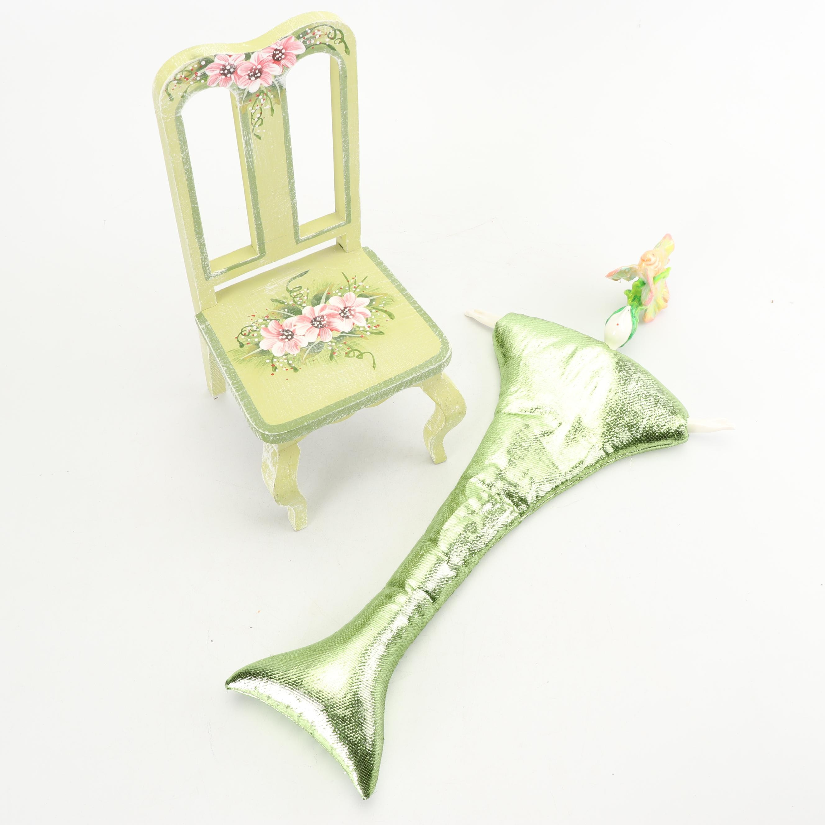 French Poupée Millet Mermaid with Milson & Luis Hand-Painted Doll Chair