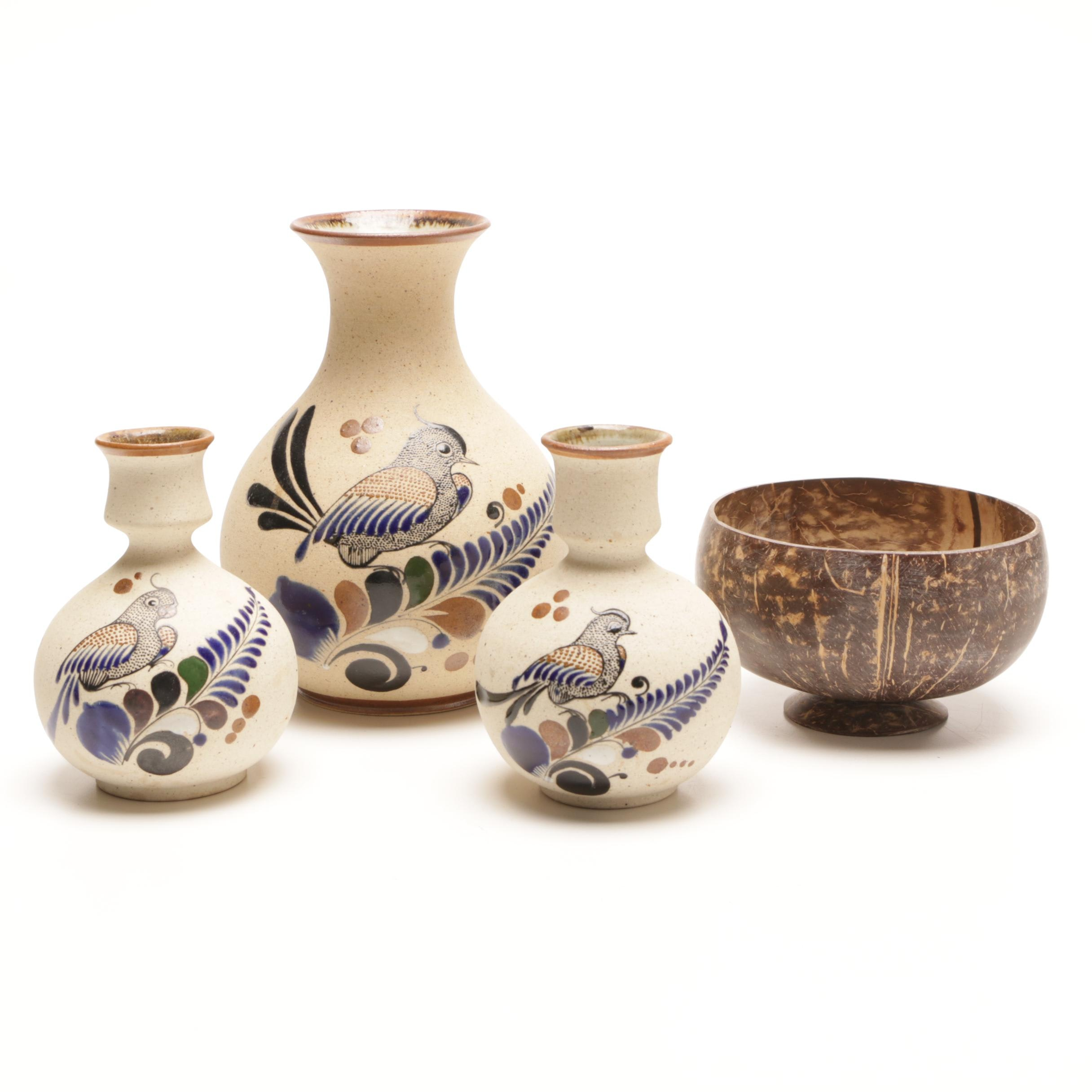 Mexican Art Pottery Vessels and Turned Bowl