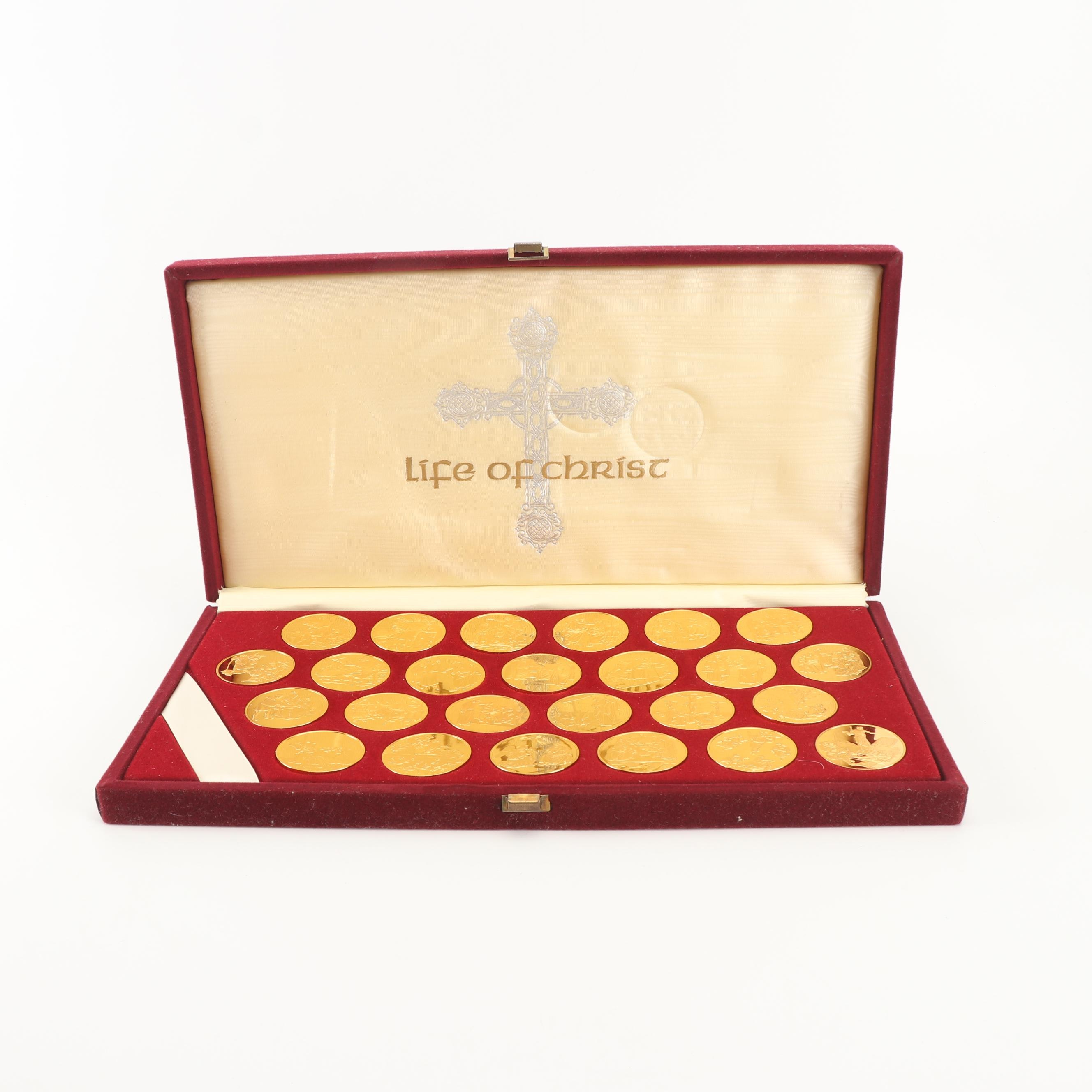 """Franklin Mint """"Life of Christ"""" Gold Tone Sterling Medal Collection"""