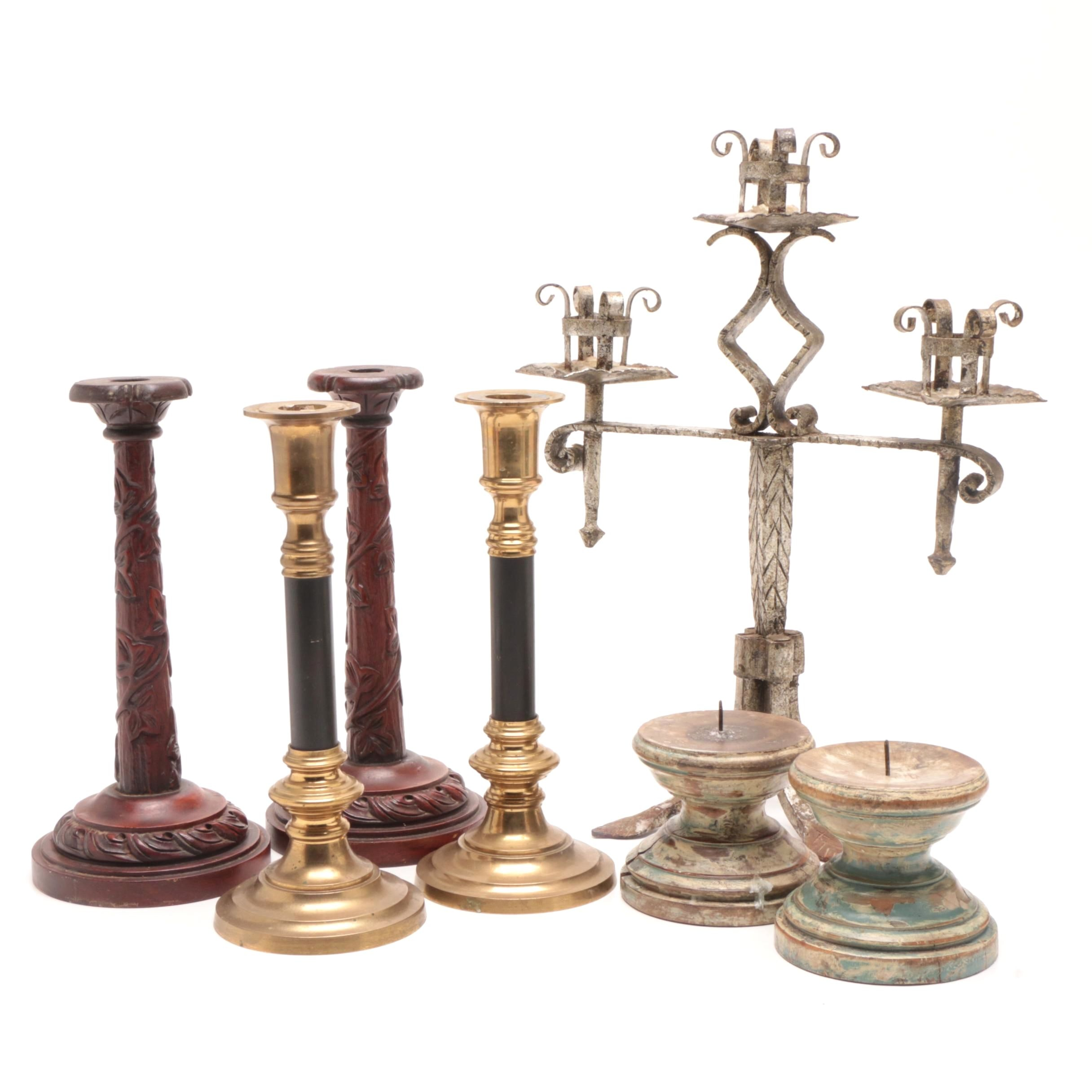Solid Brass and Carved Wood Candlesticks and Holders