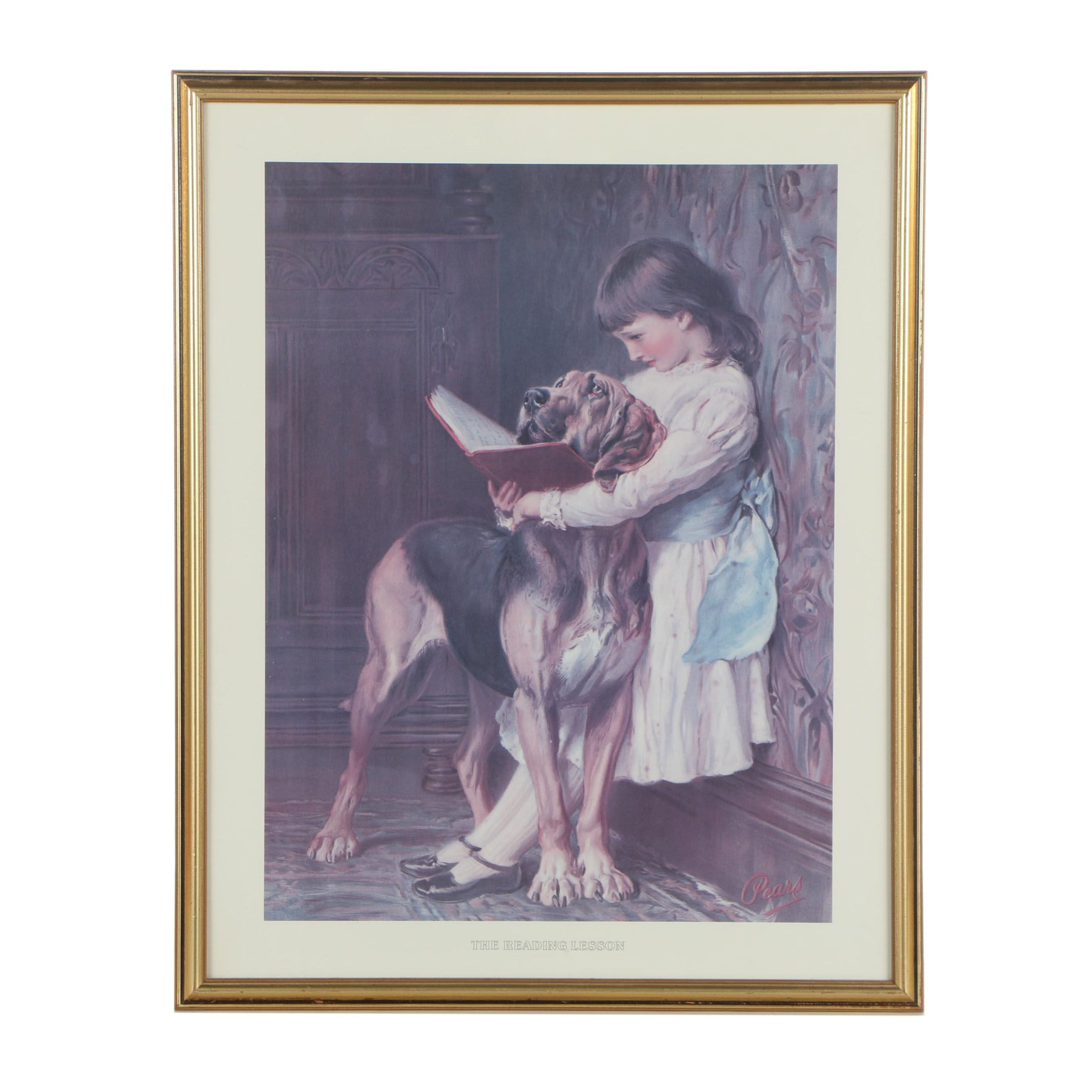 "Offset Lithograph after Briton Rivière ""The Reading Lesson"""