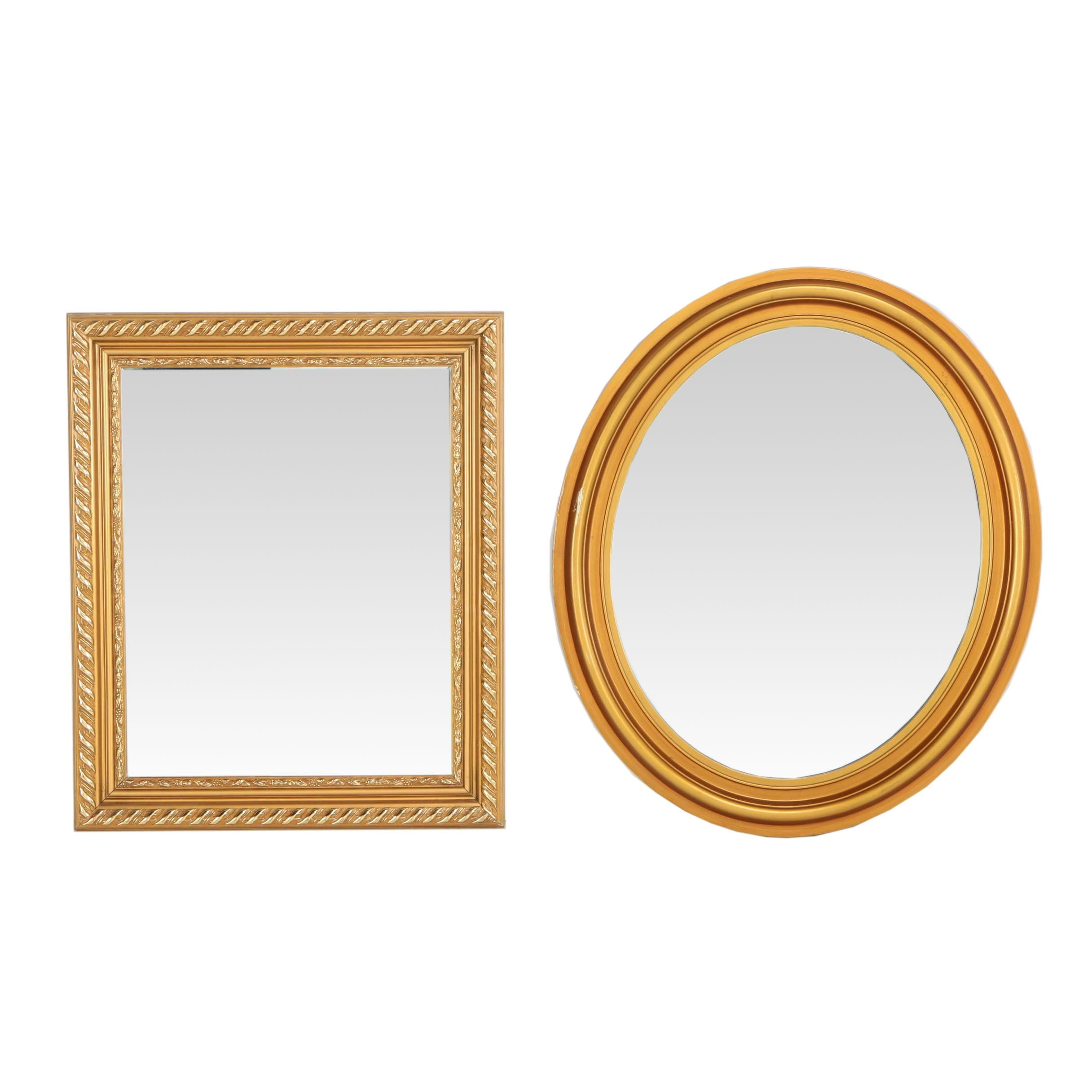 Neoclassical Style Giltwood Oval and Rectangular Wall Mirrors