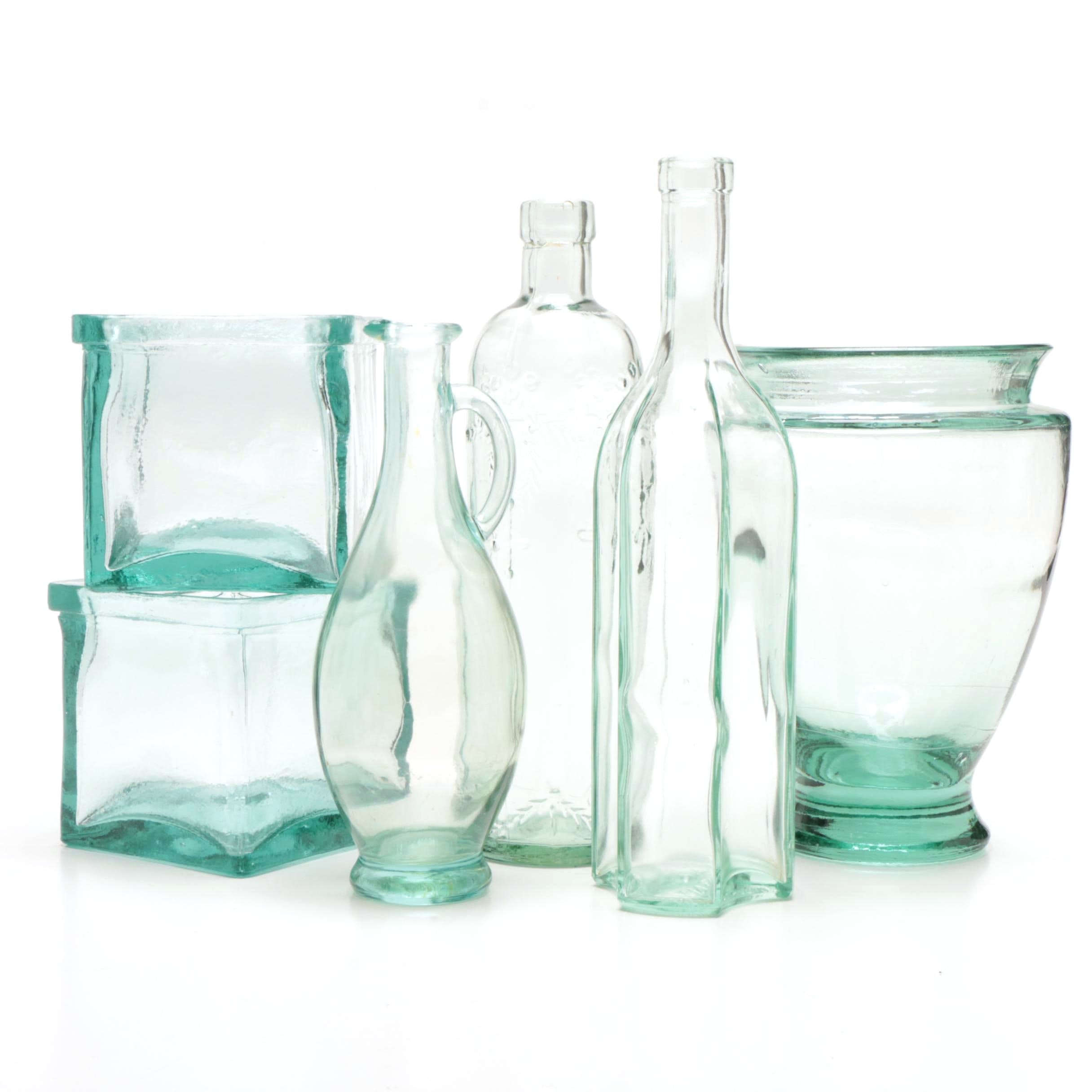 Green Glass Bottle and Vase Collection