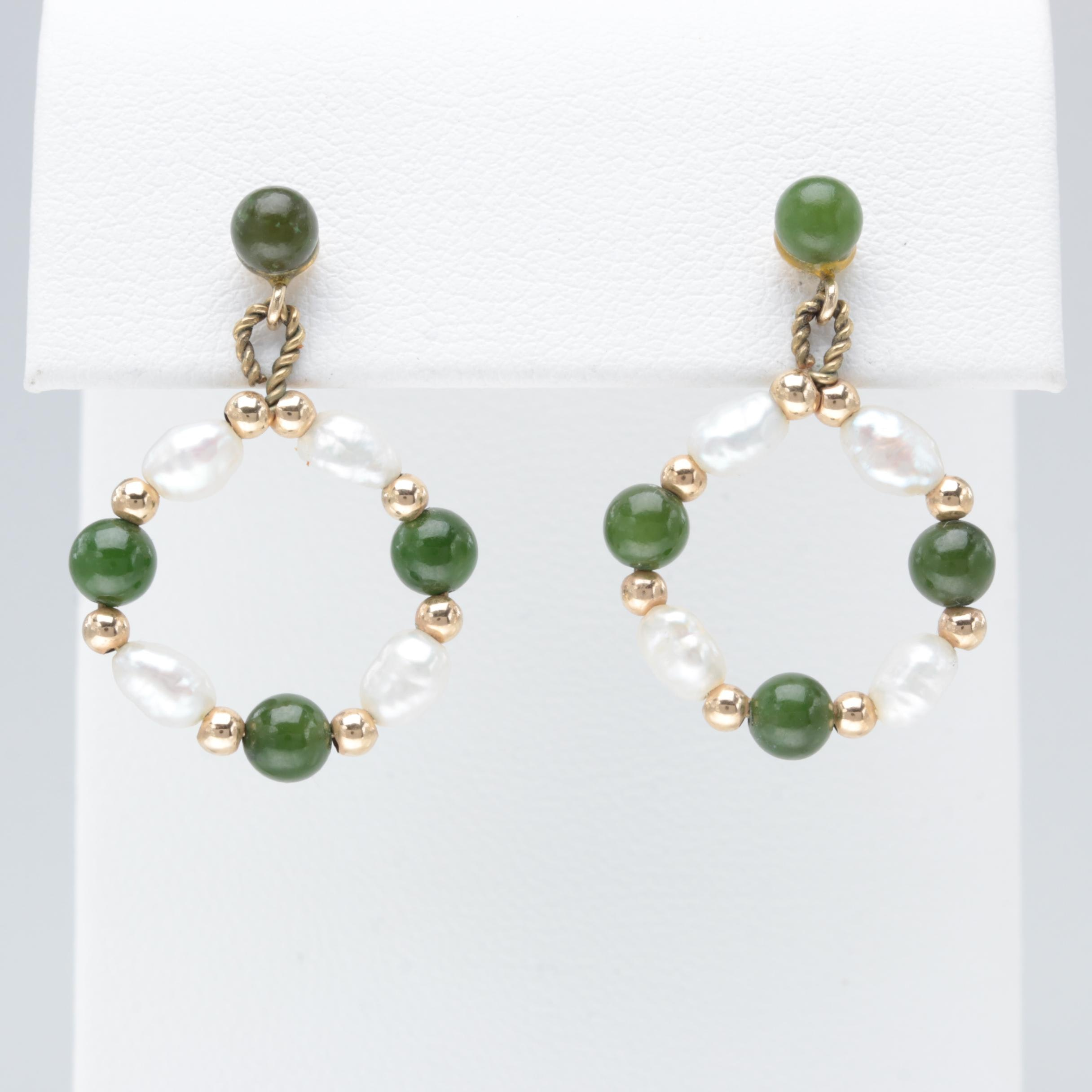 14K Yellow Gold Serpentine and Cultured Pearl Earrings