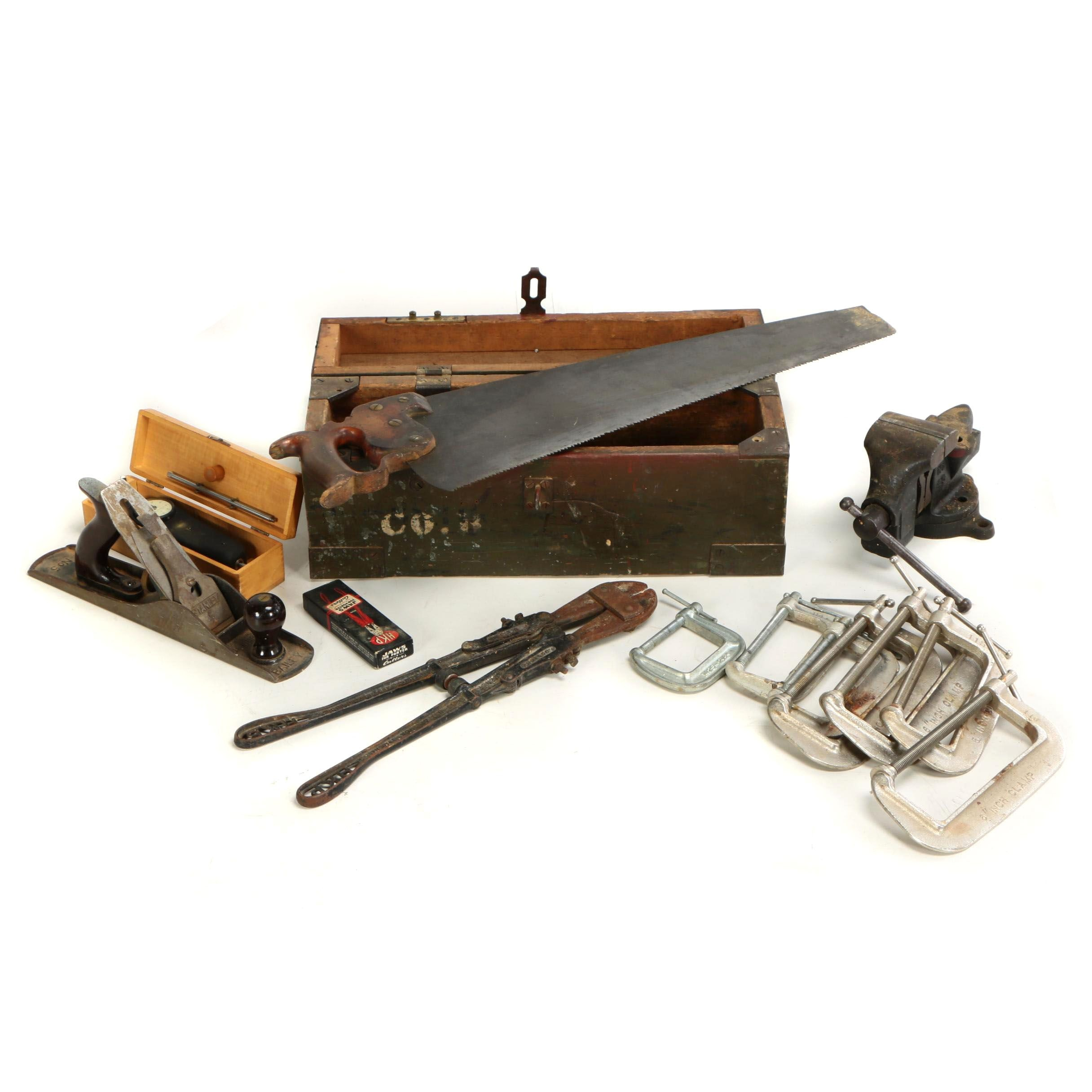 Hand Tools and Wooden Lockbox, Mid Century