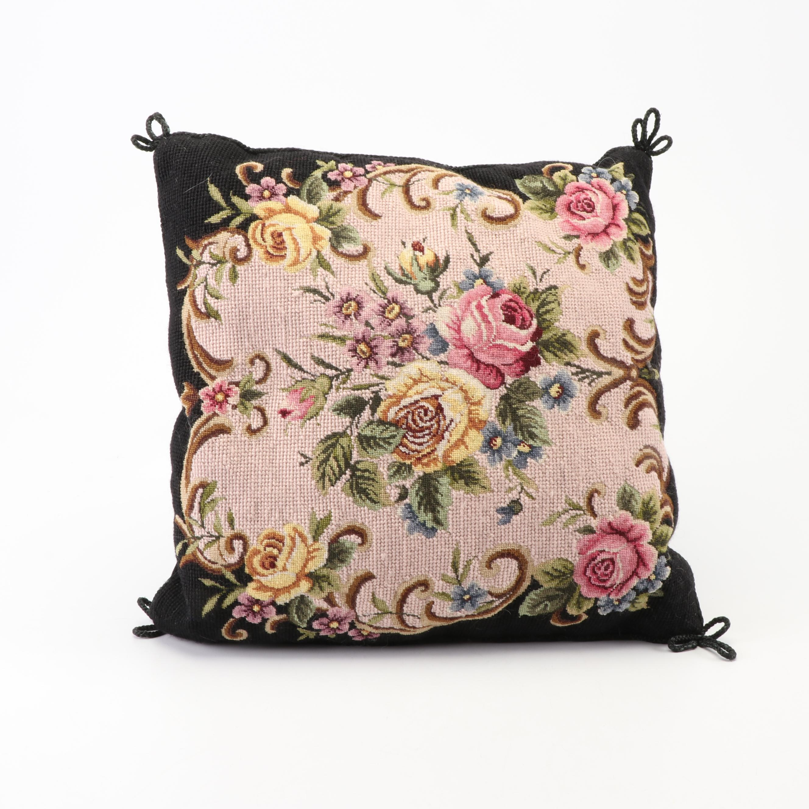 Katha Diddel Stitched Floral Throw Pillow