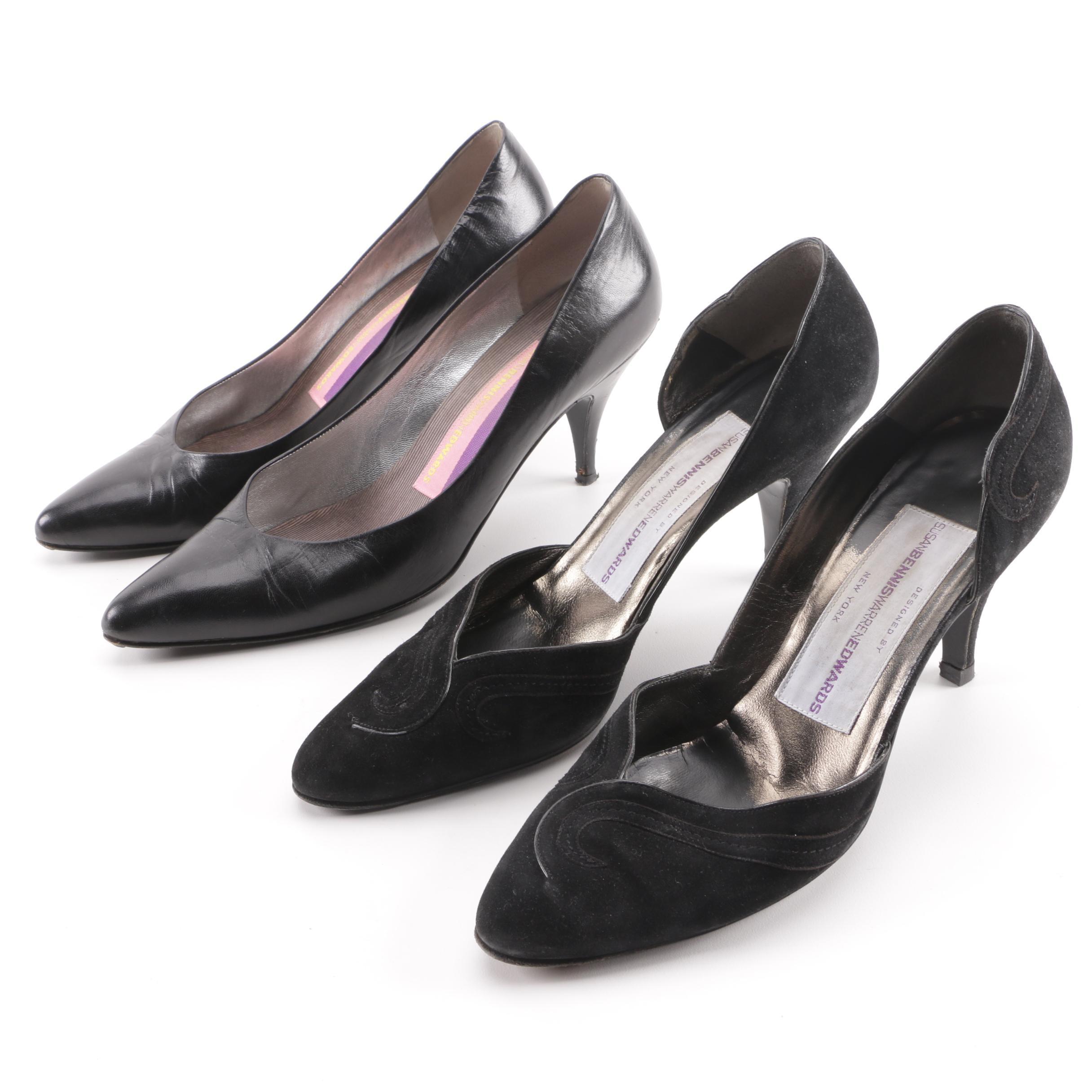 Susan Bennis Warren Edwards Black Leather and Suede Pumps