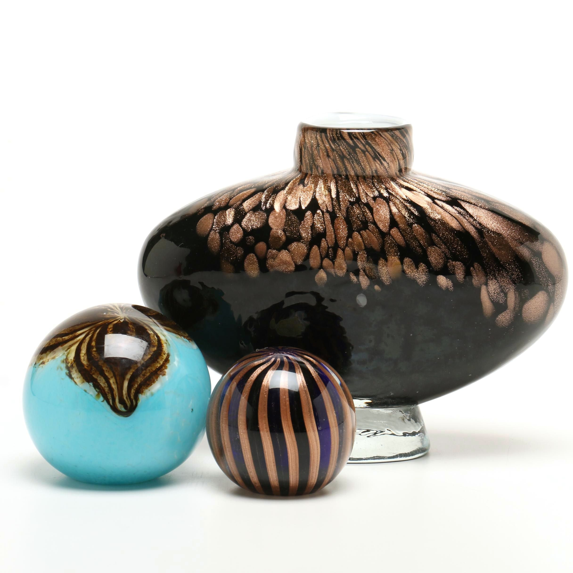 Saks Italian Paperweight with Vase and Blown Glass Orb