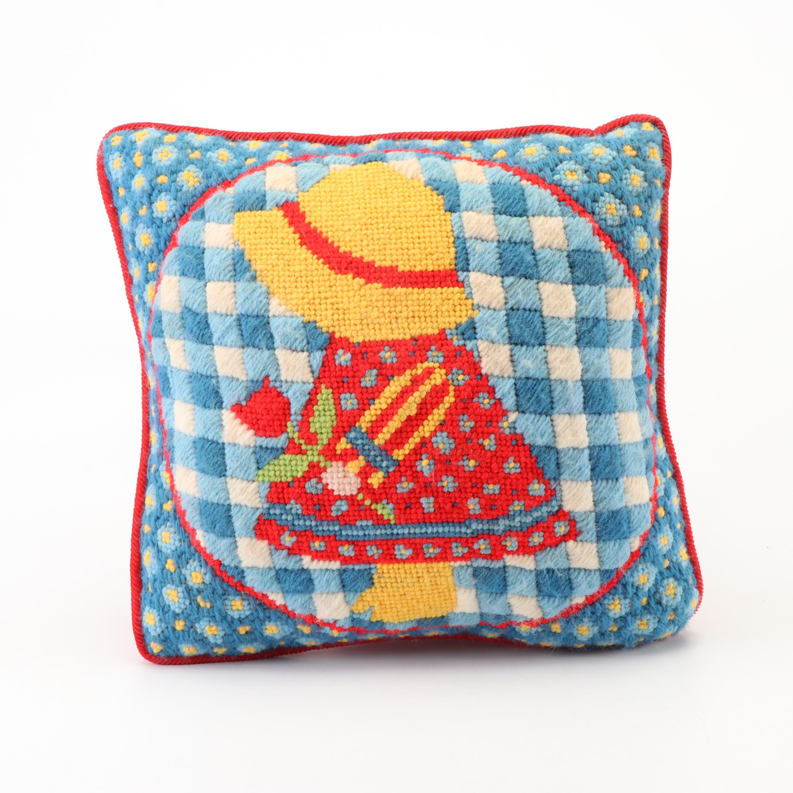 Needlepoint Girl with Bonnet Accent Pillow with Corduroy Reverse