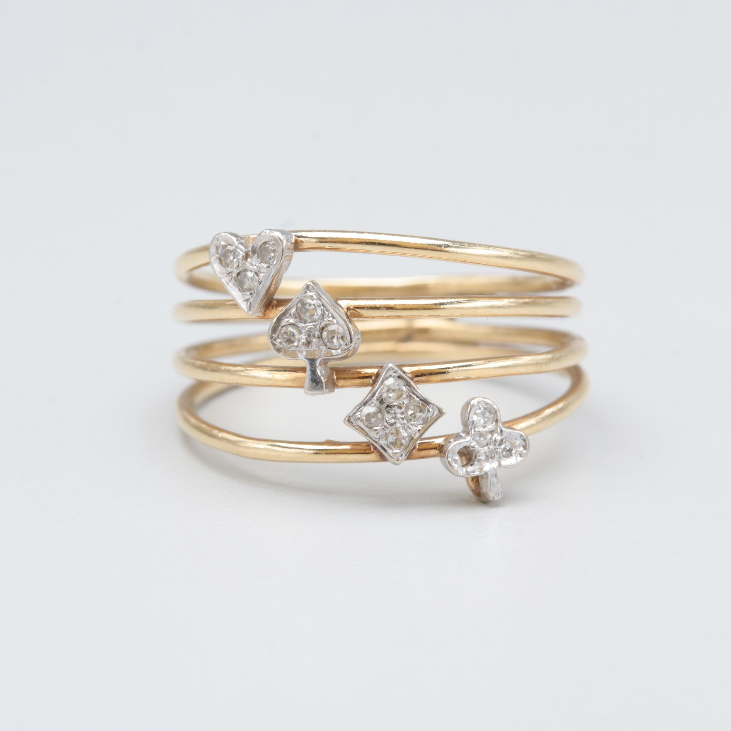 14K Yellow Gold Diamond Ring with Card Suit Motif