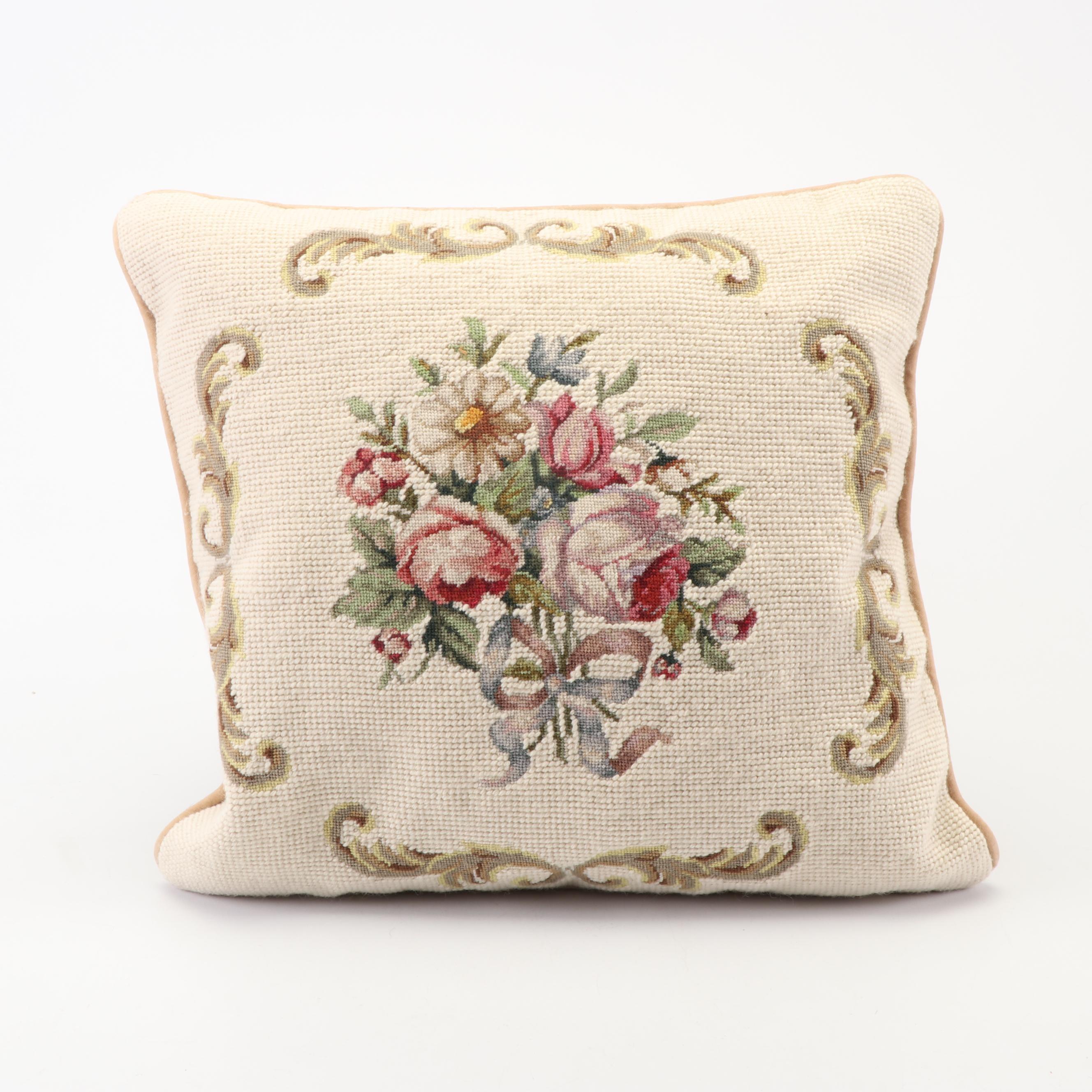 Steinwinder Enterprises Needlepoint Floral Bouquet Accent Pillow