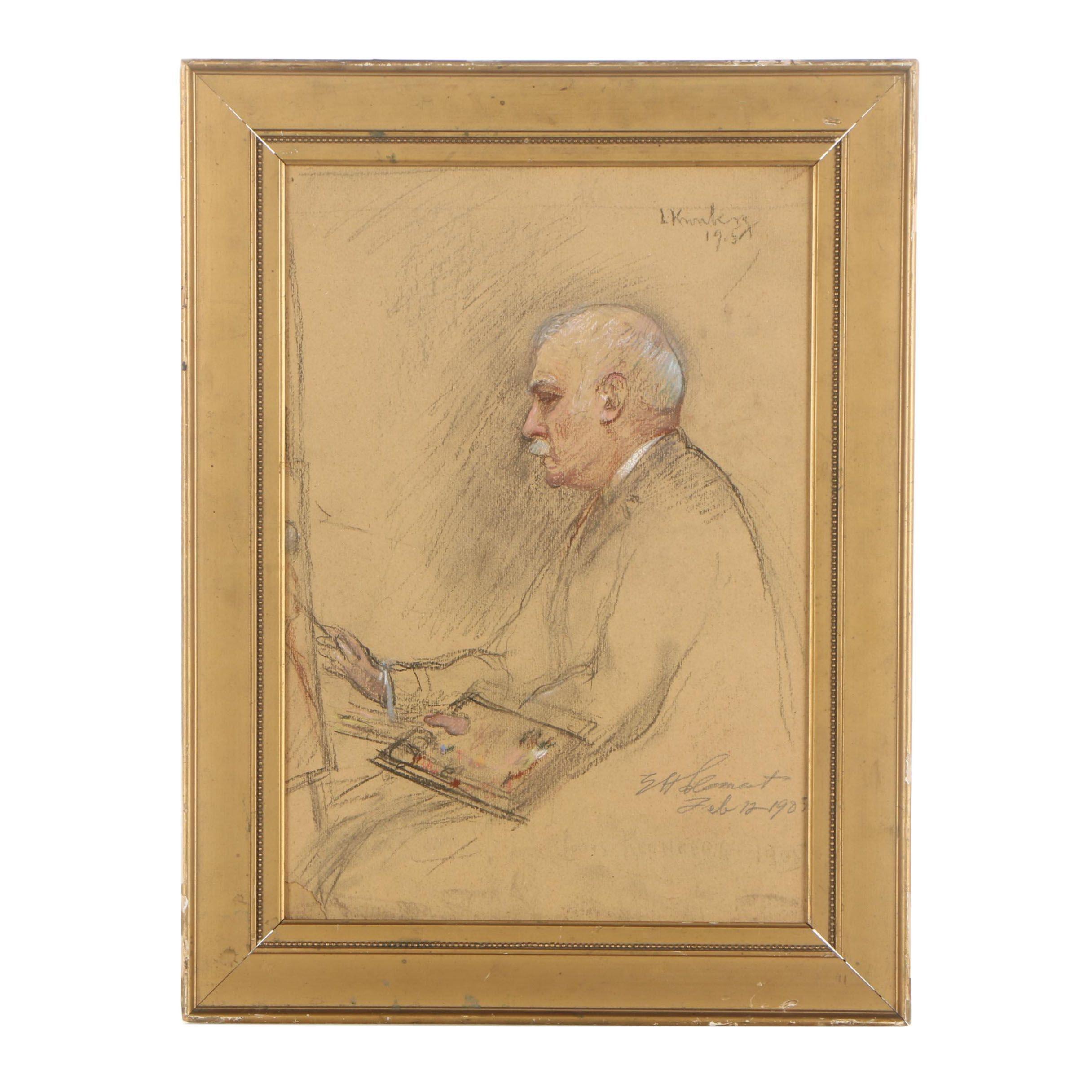 "Louis Kronberg Chalk Pastel Drawing ""My Friend E.H.C."""
