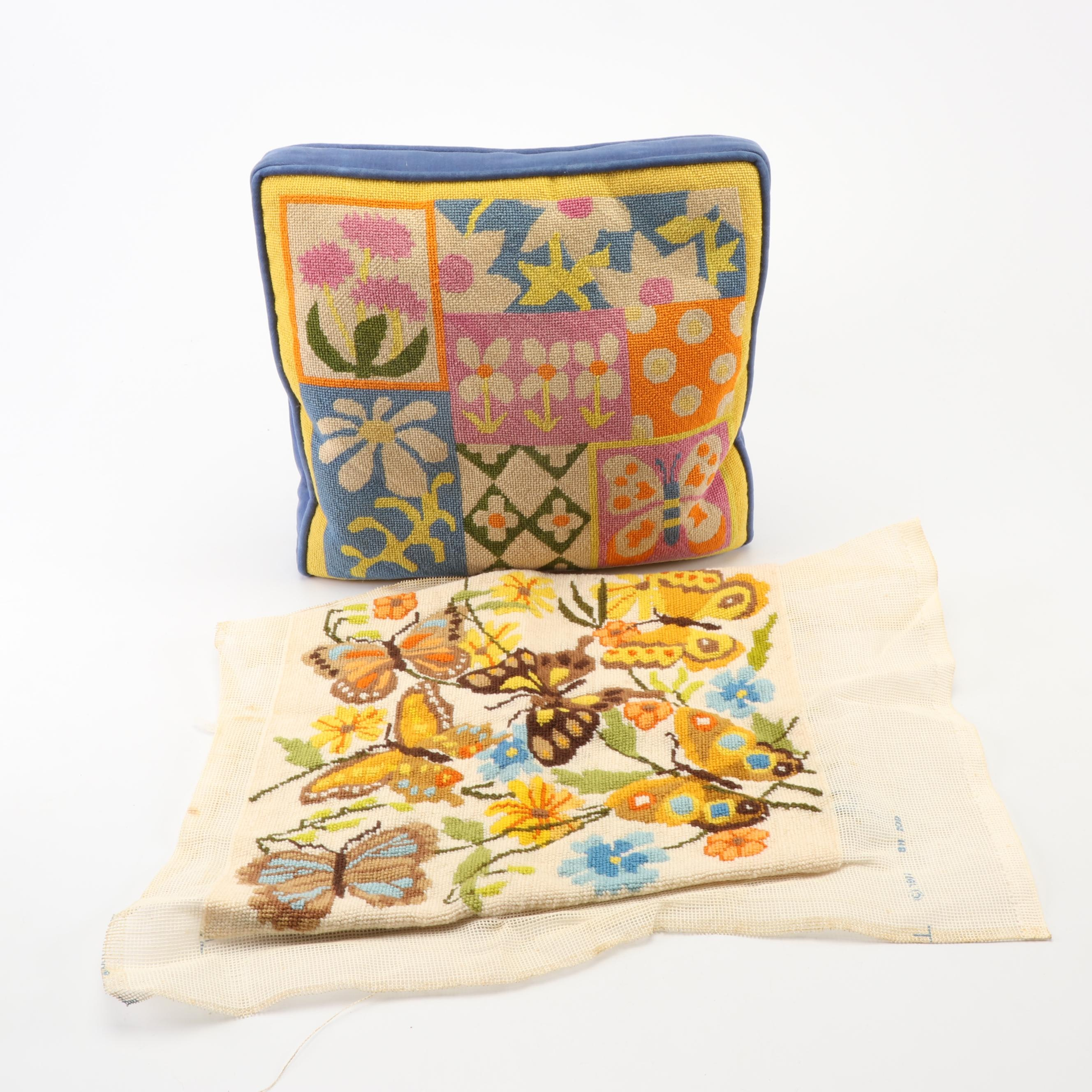 Needlepoint Floral Accent Pillow with Needlepoint Butterfly Project