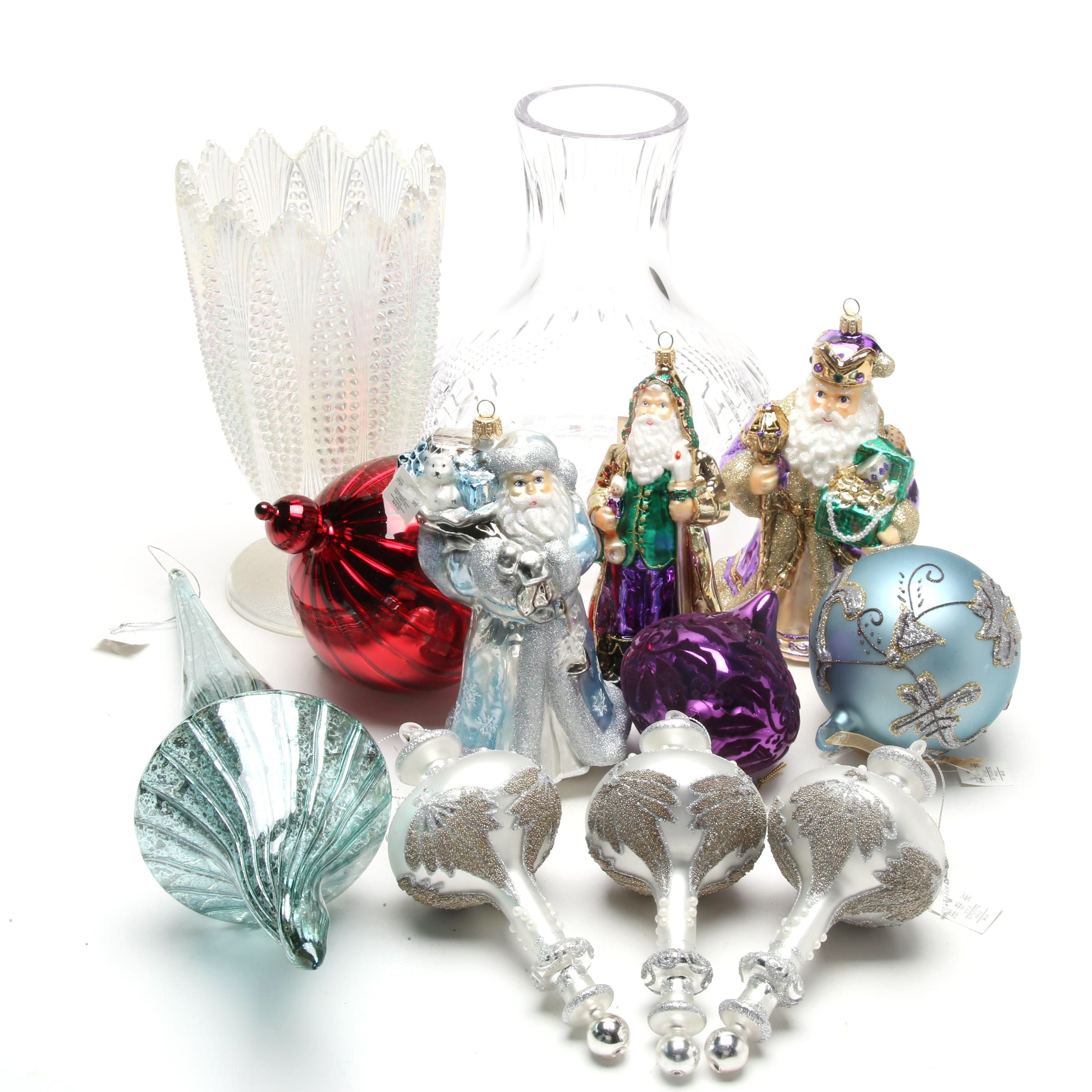 Blown Glass Christmas Ornaments, Crystal Lamp Shade and Iridescent Vase