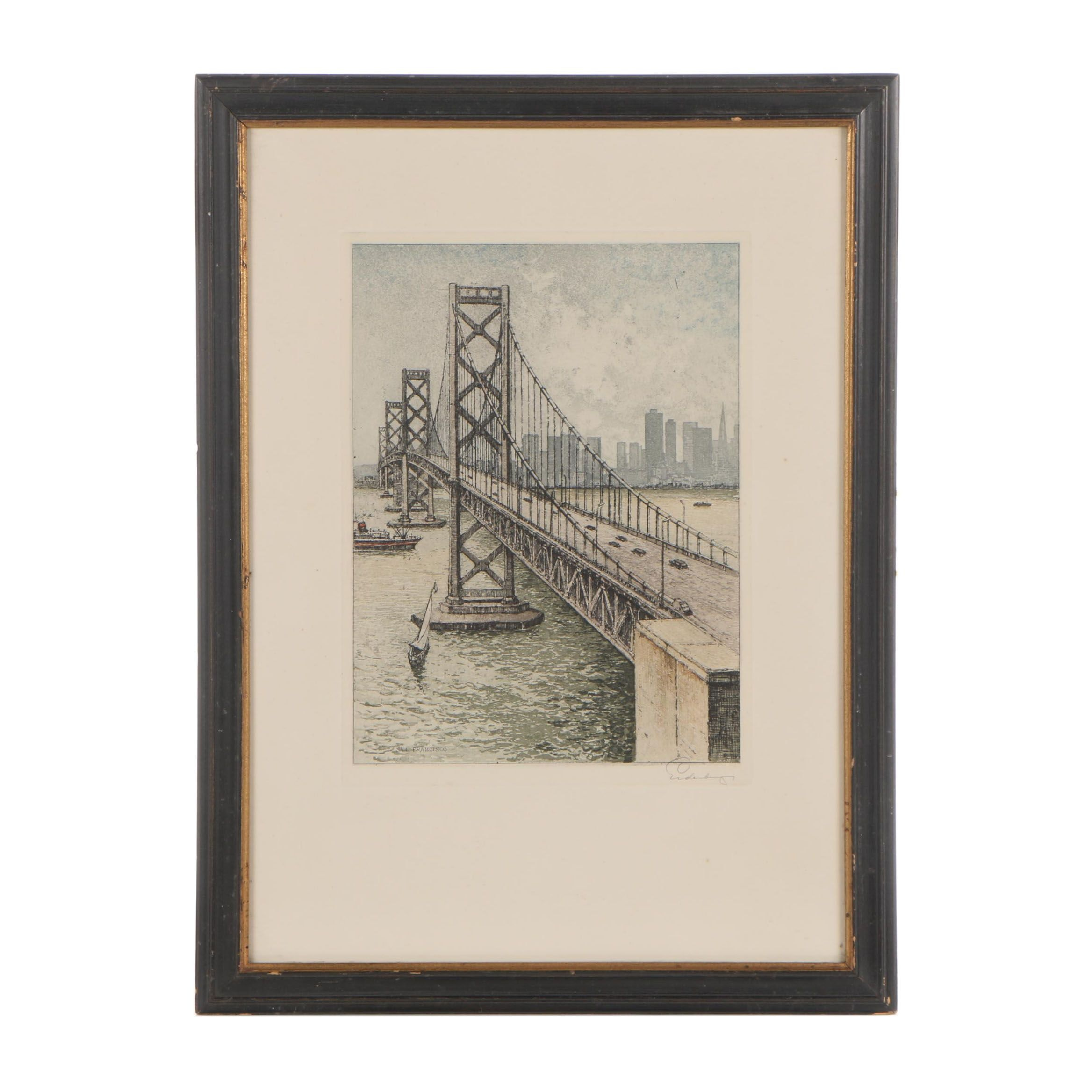 "Josef Eidenberger Etching ""Oakland Bay Bridge"""