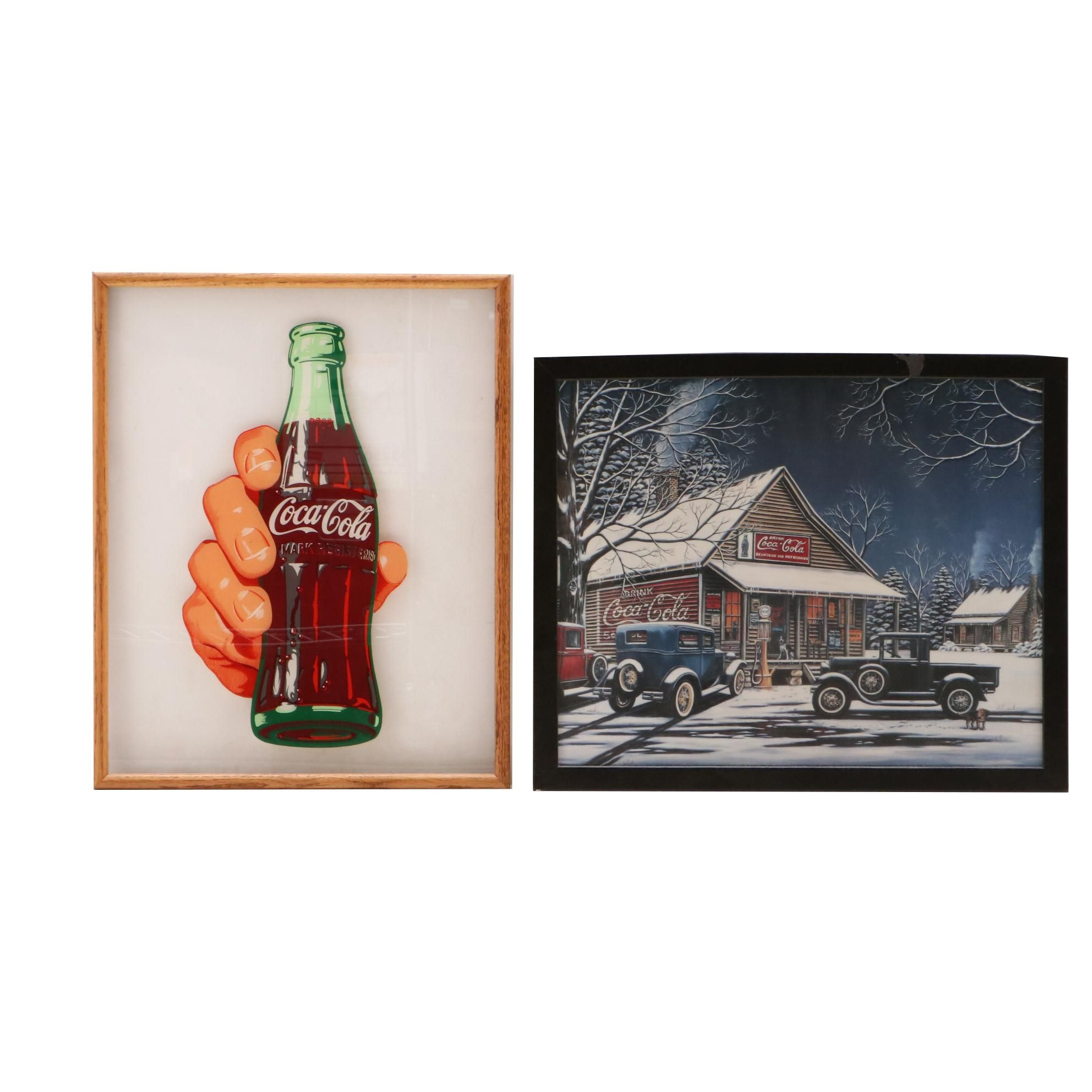 Reverse Printed on Glass and Offset Lithograph Coca-Cola Prints