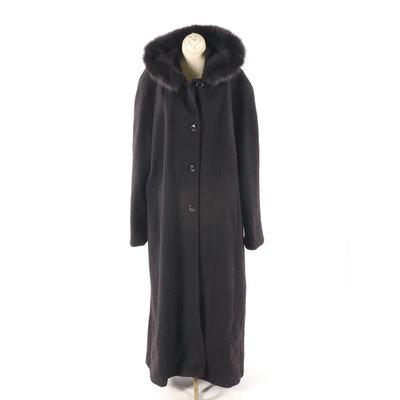 Women S Andrea Black Wool Hooded Coat With Fox Fur Trim