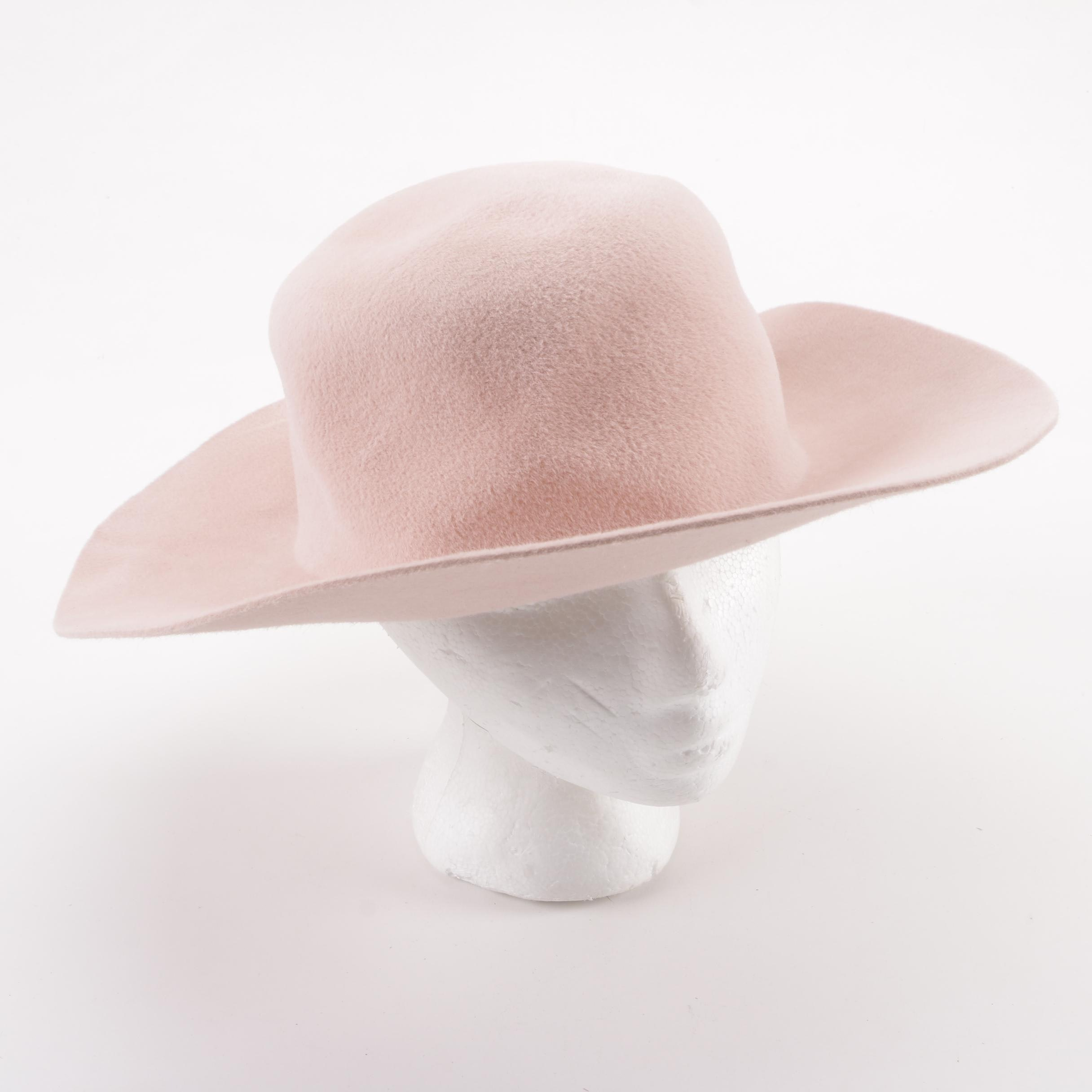 Agnes B. Light Pink Felted Wide Brim Hat