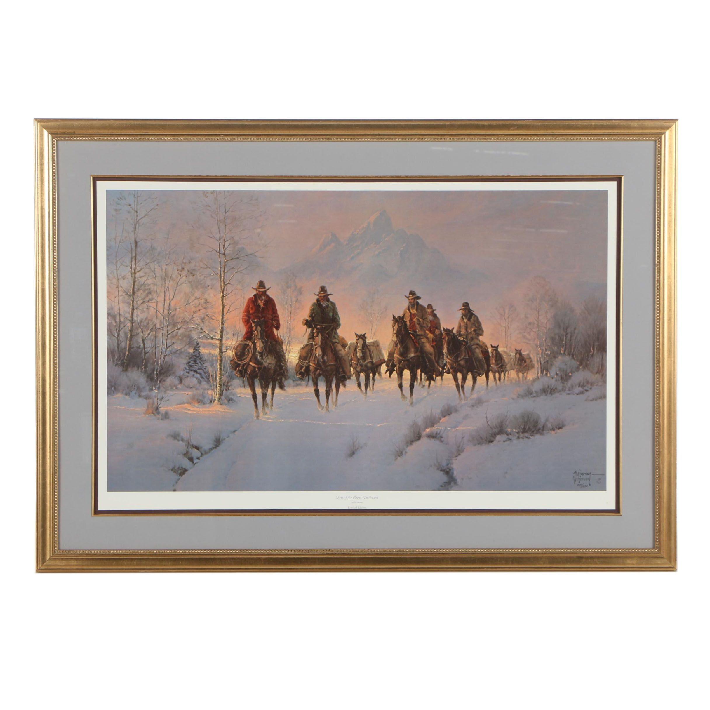 """Gerald Harvey Offset Lithograph """"Great Men of the Northwest"""""""