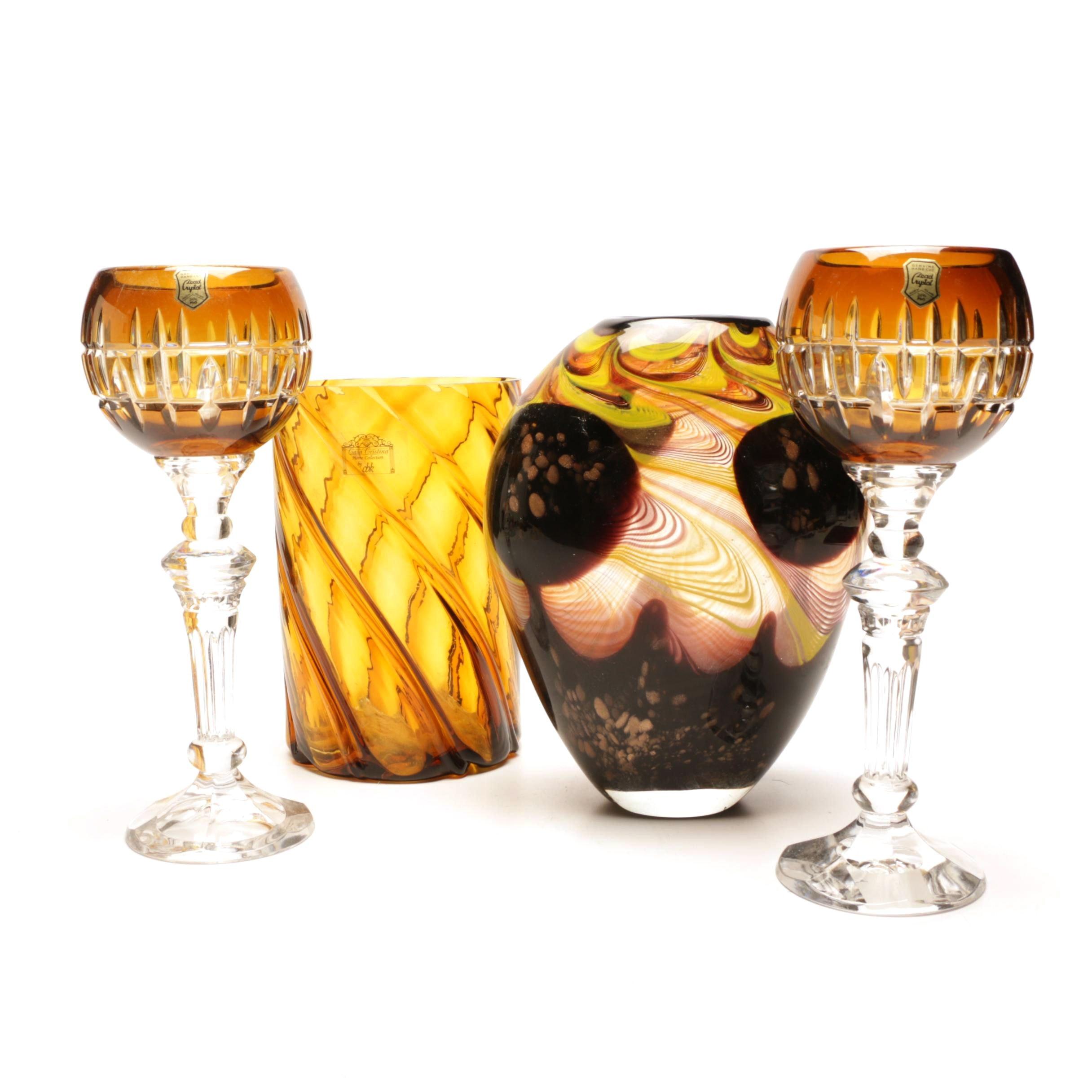 Lenox Swirled Glass Vase and Amber Toned Candle Holders