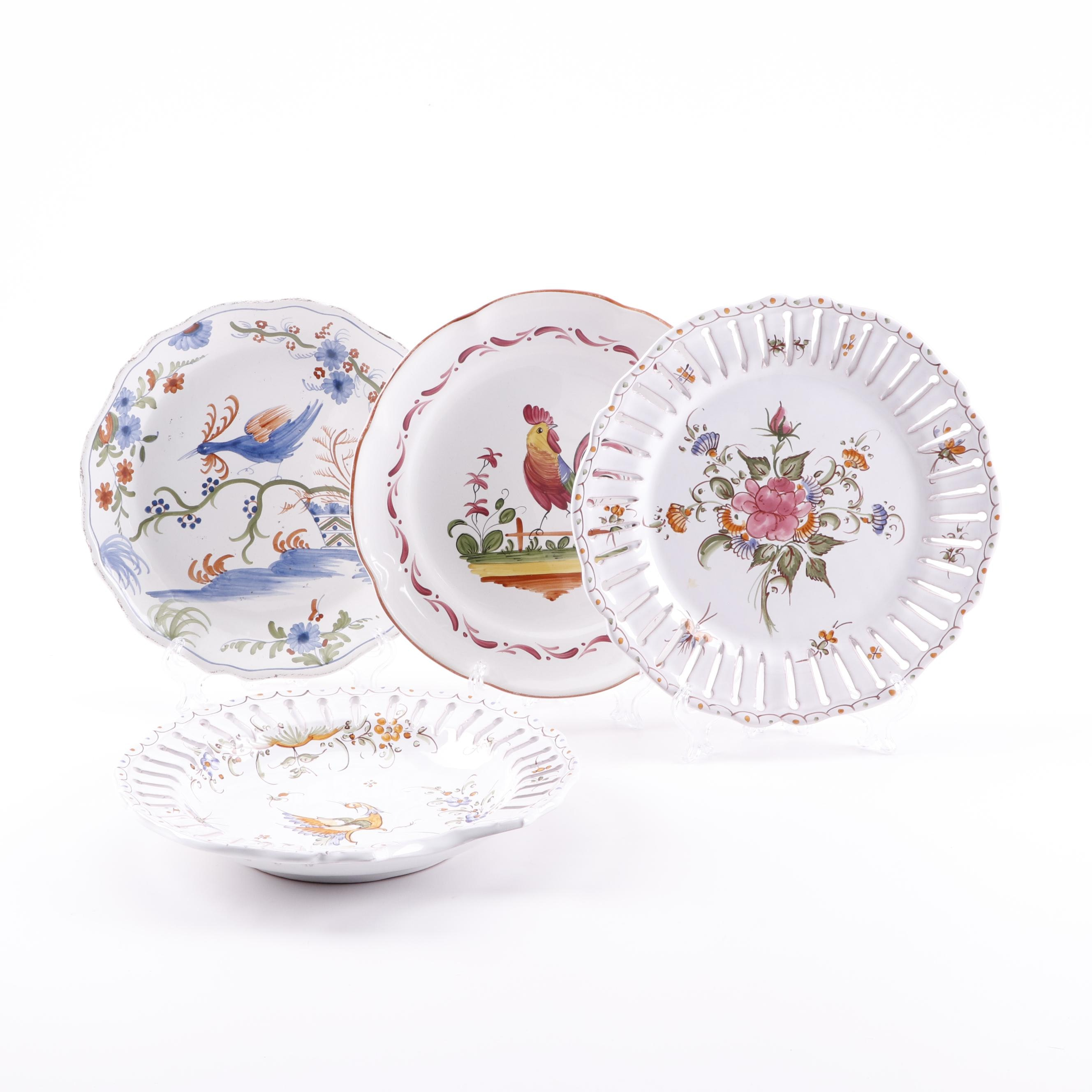 European Hand-Painted Faïence Style Plates and Bowl