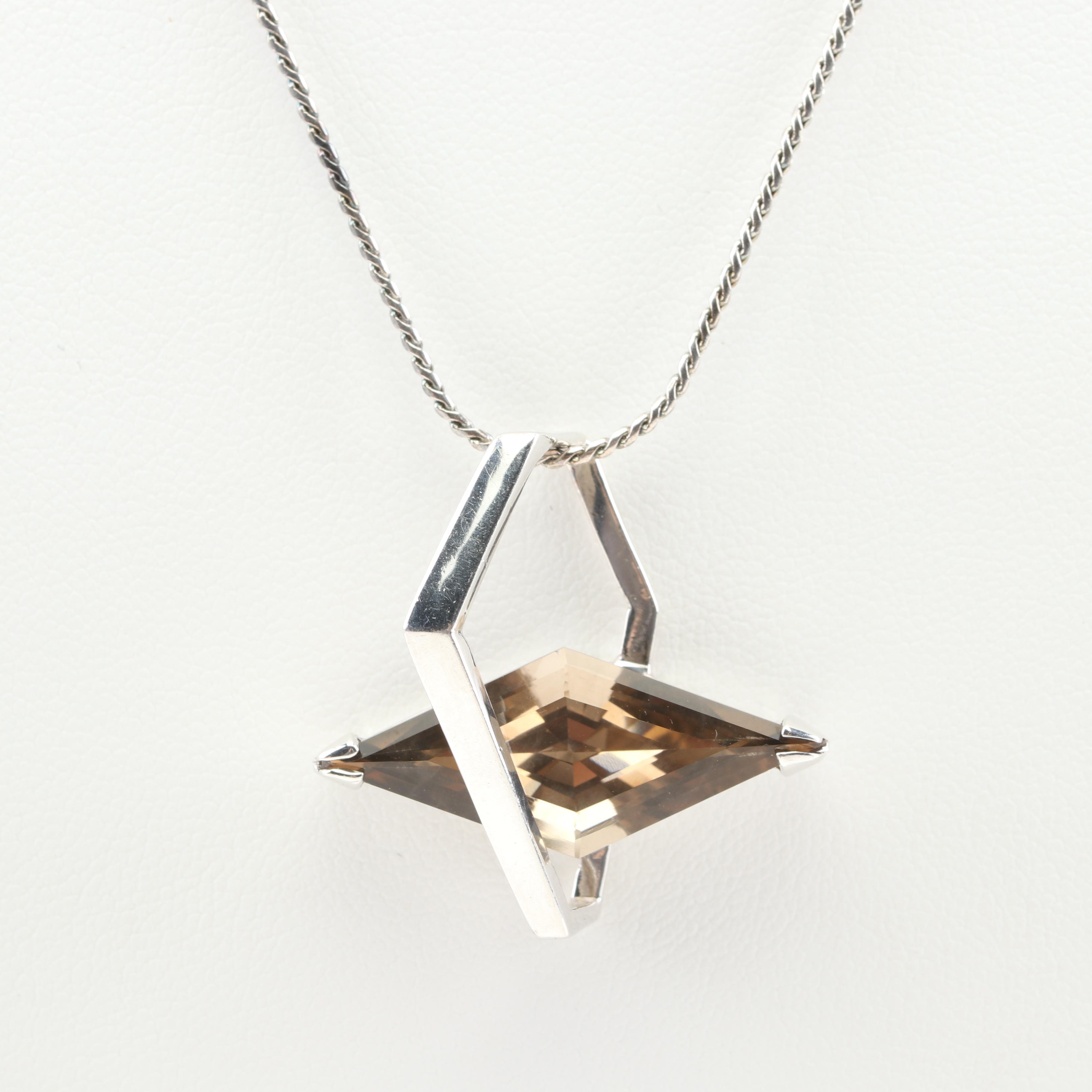 Sterling Silver Smoky Quartz Modern Necklace