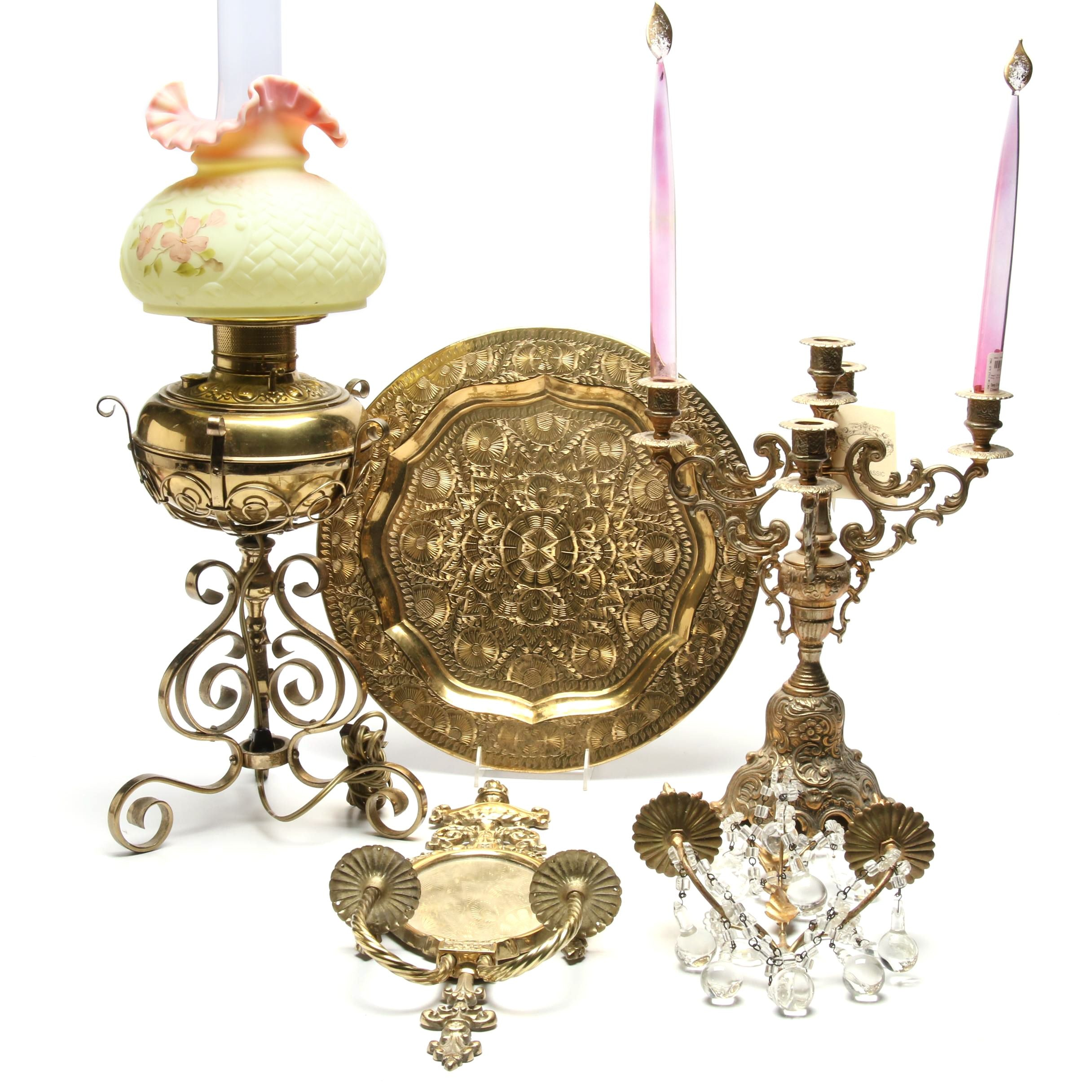Brass Decor Including Converted Oil Lamp with Ruffled Glass Shade