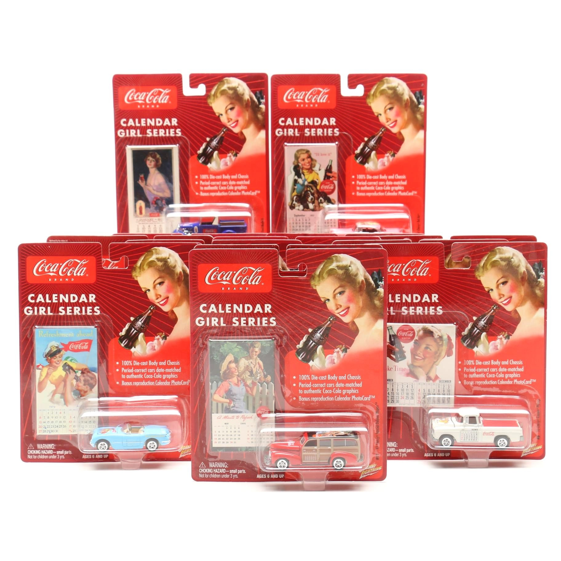 "Coca-Cola ""Calendar Girl Series"" Die-Cast Collector Cars"