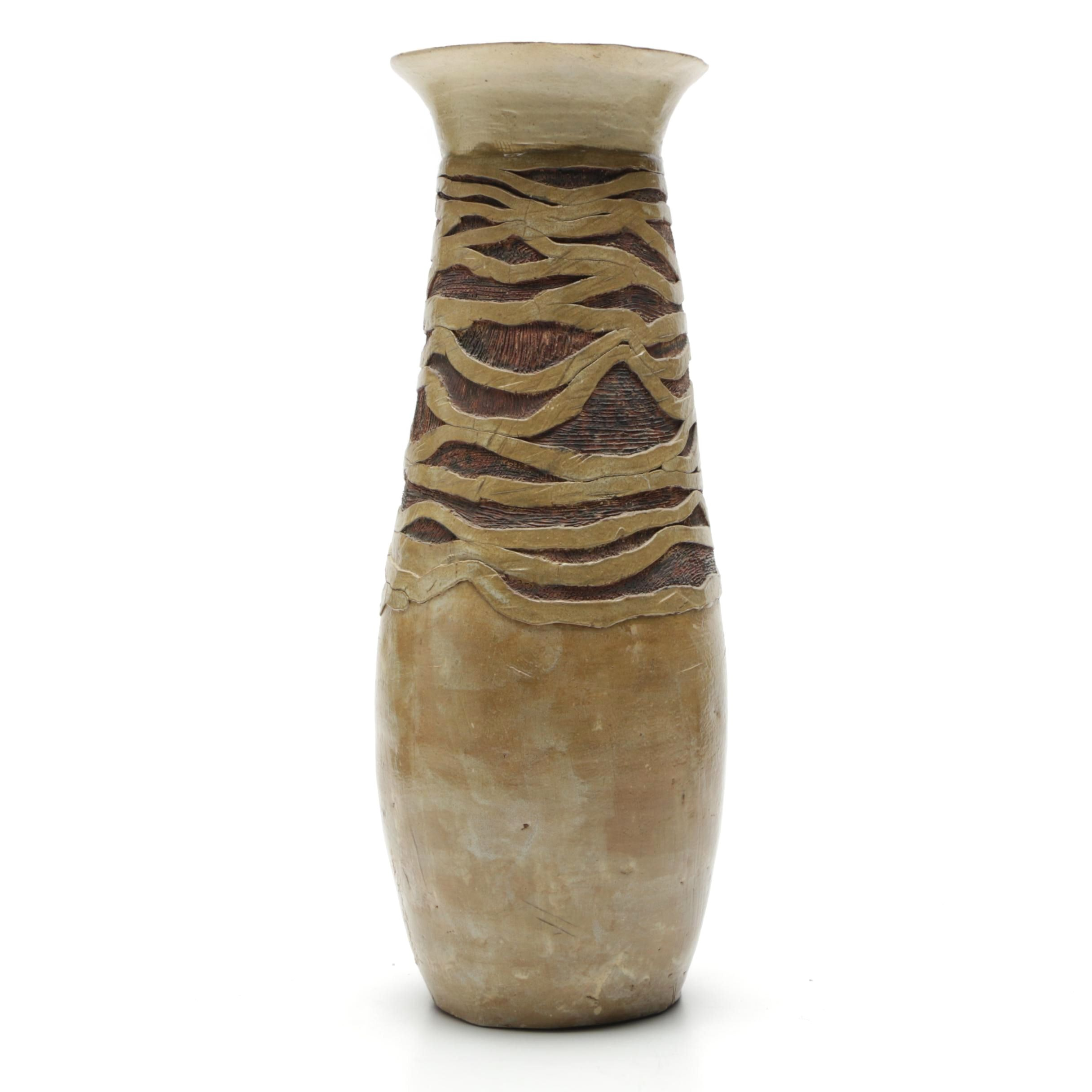 Wheel Thrown Carved Stoneware Vase