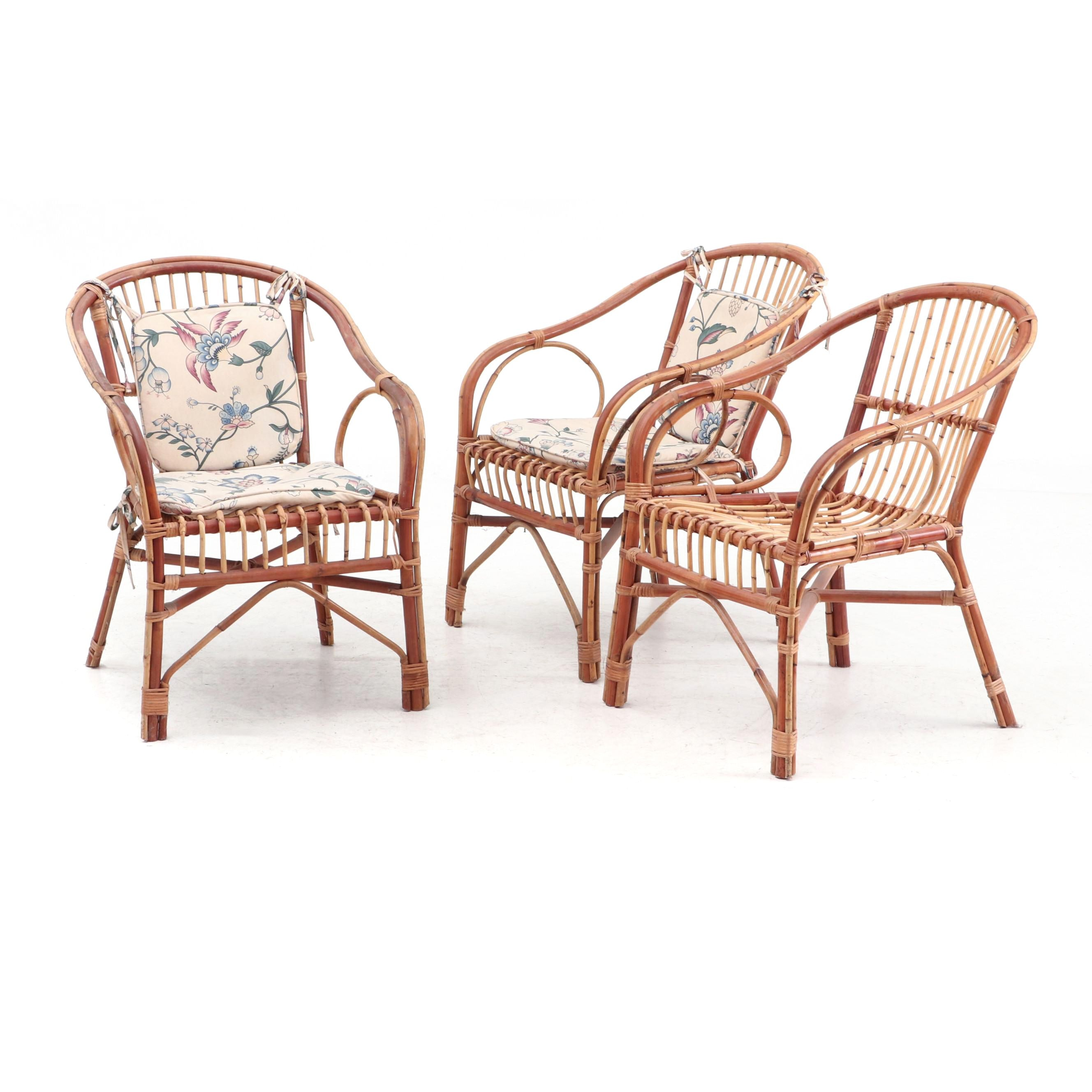 Bamboo and Rattan Arm Chairs with Cushions