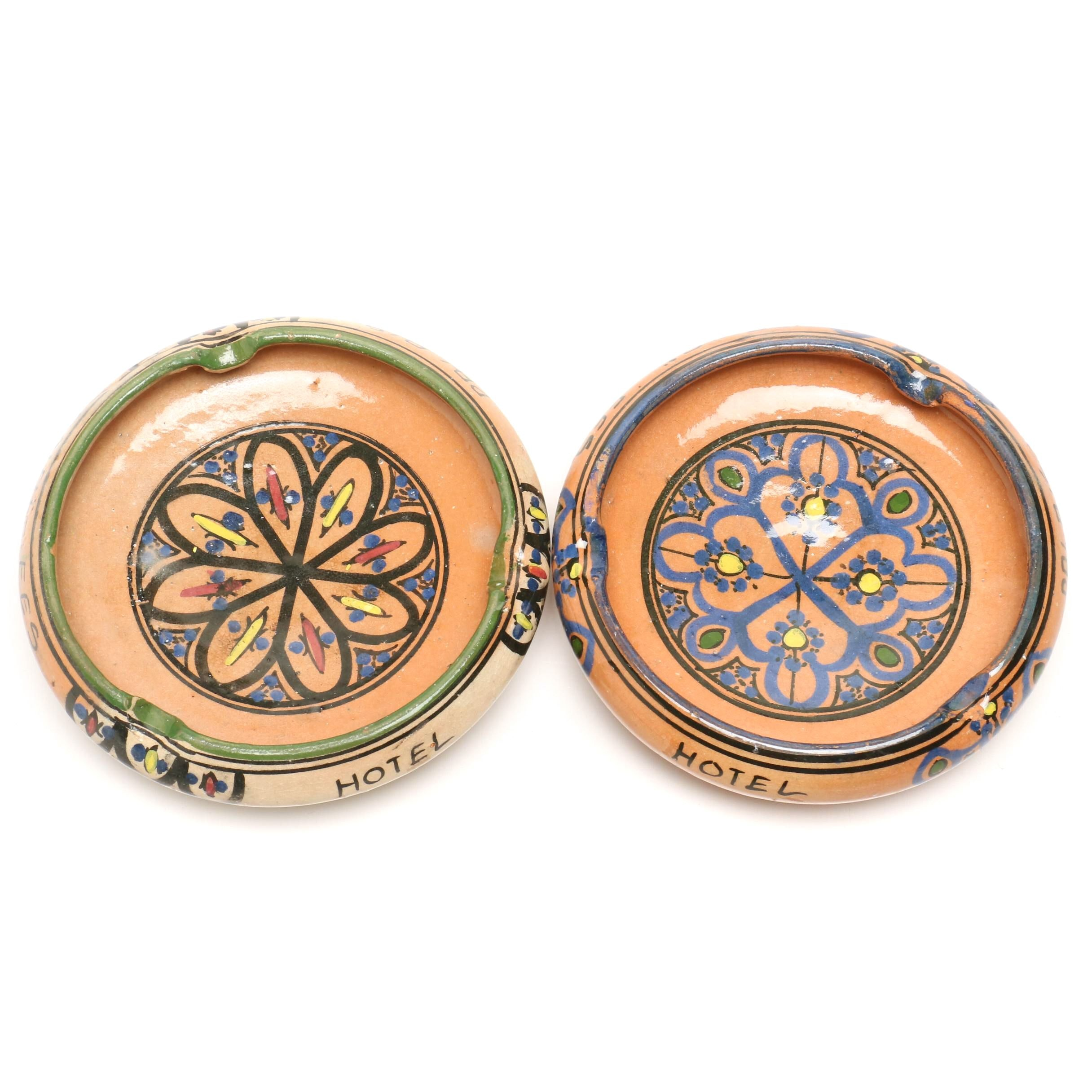 "Hand-Painted Moroccan ""Hotel Palais"" Stoneware Ashtrays"