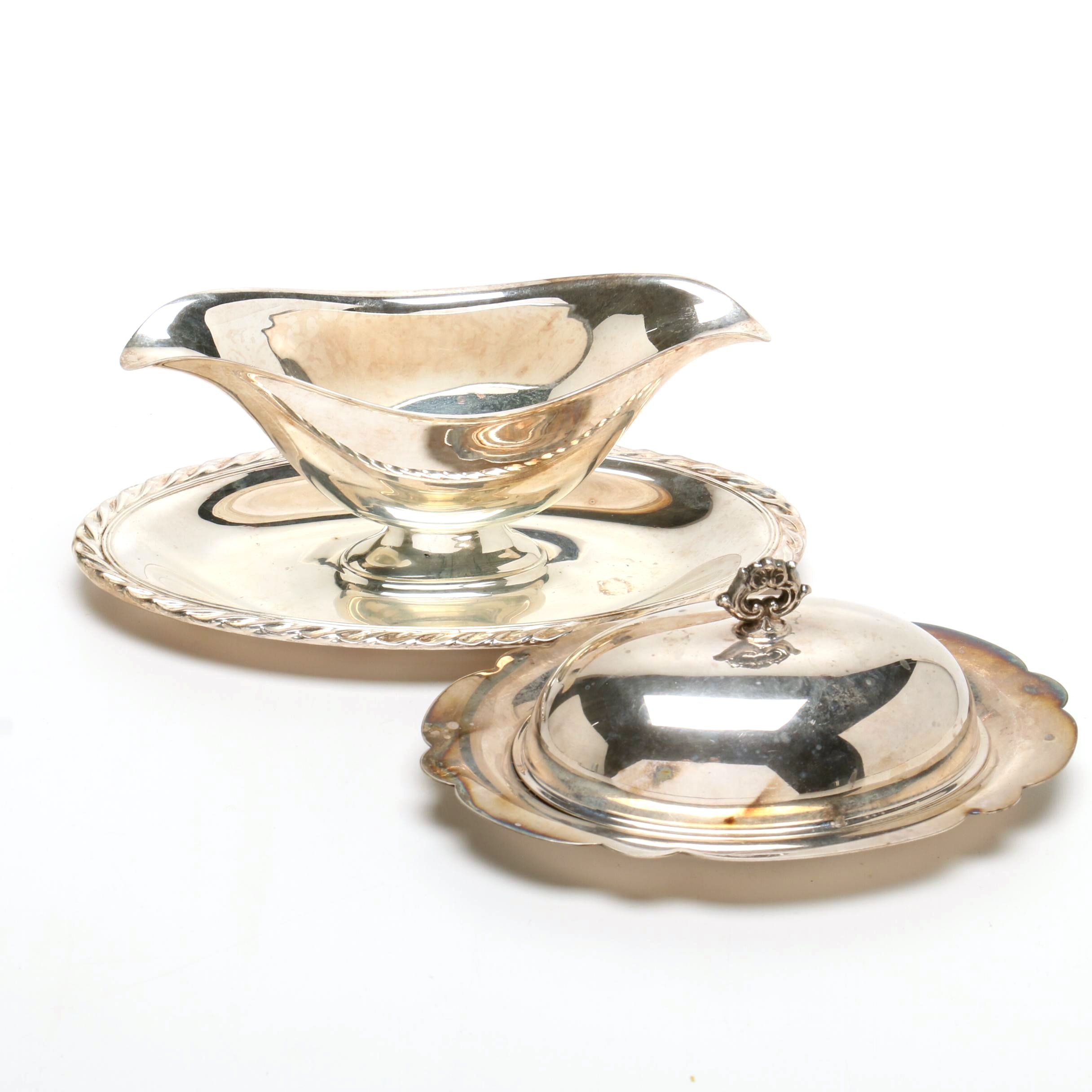 Silver Plated Gravy Boat and Butter Dish