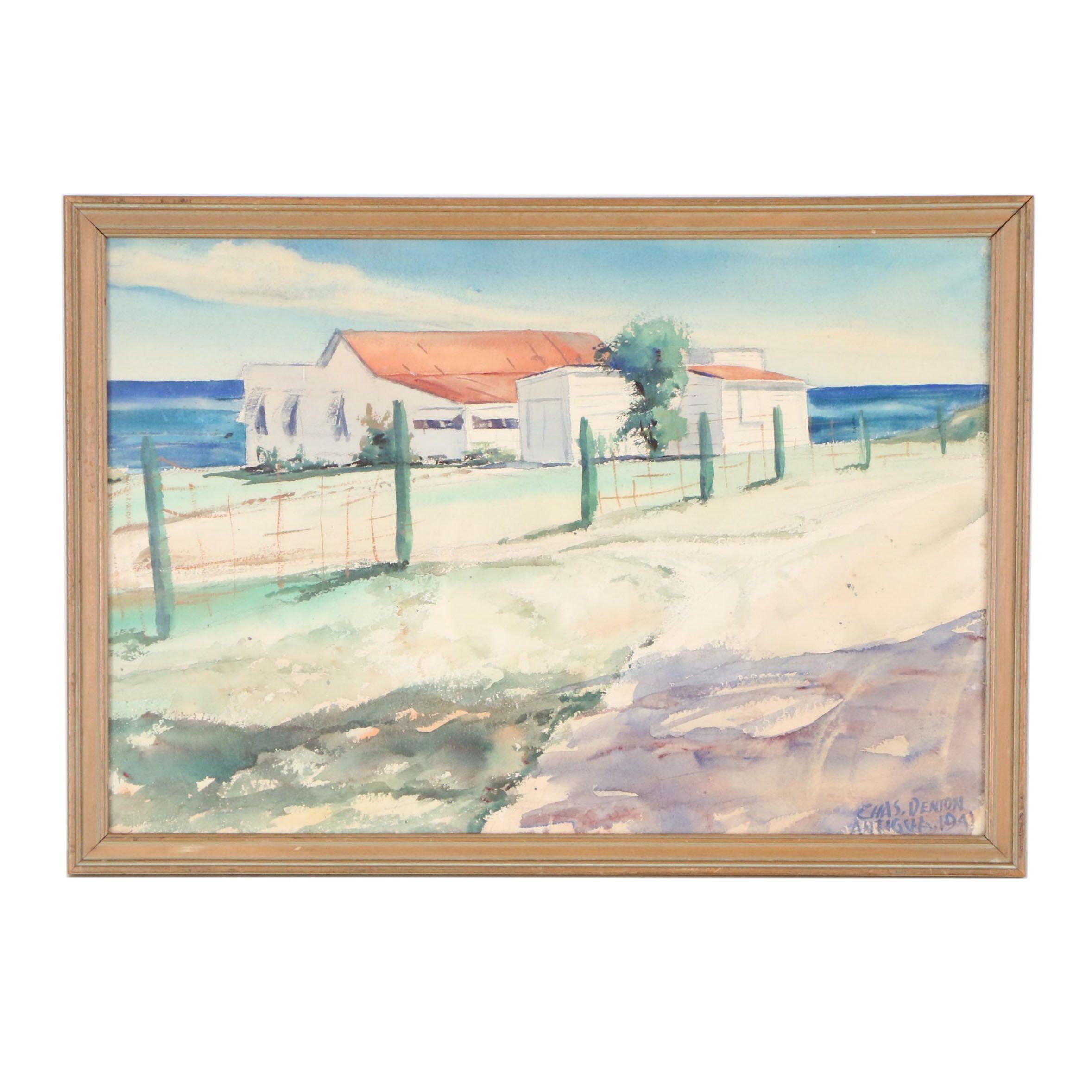 "Charles Denton Watercolor Painting  ""Antigua"""