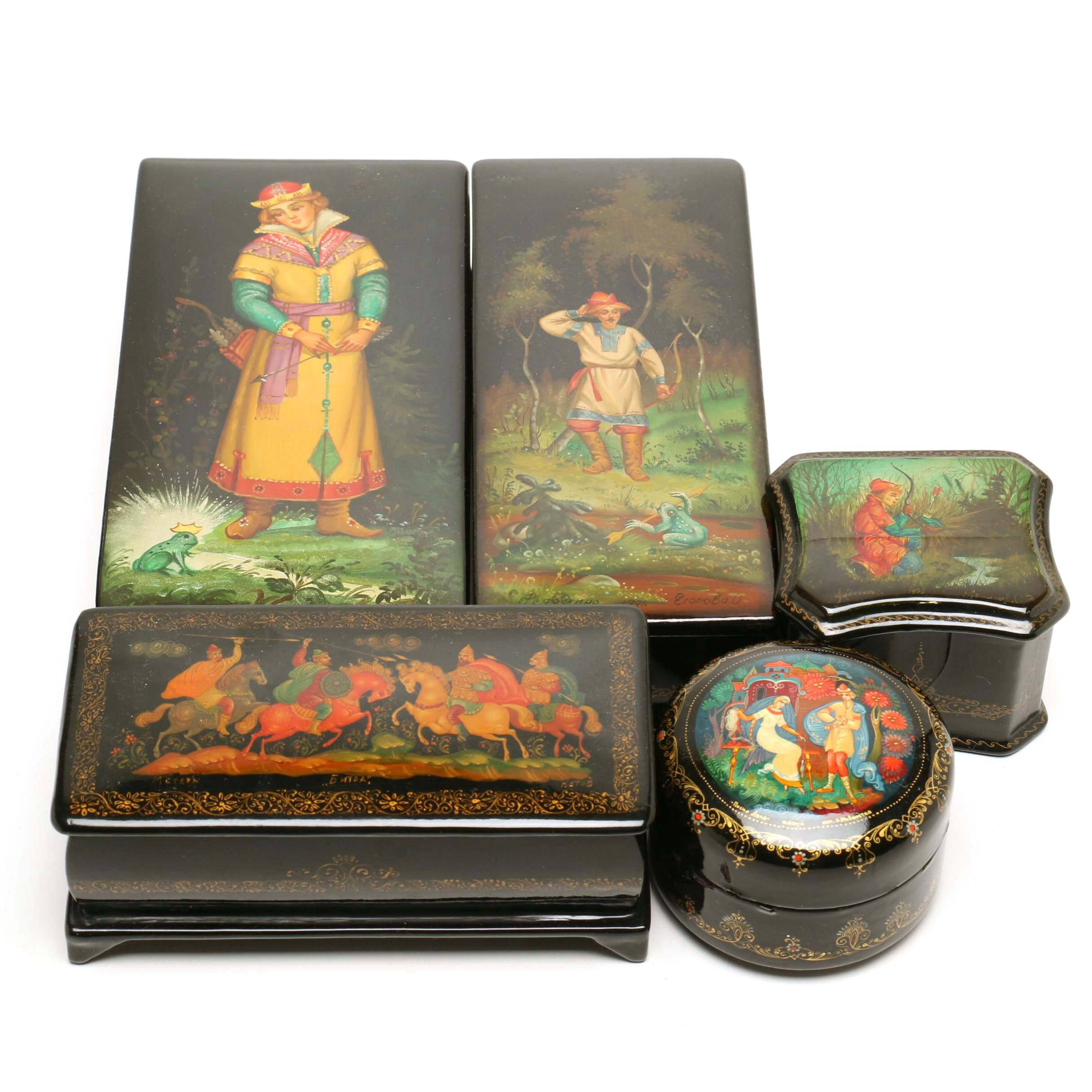 Hand-Painted and Signed Russian Lacquered Boxes