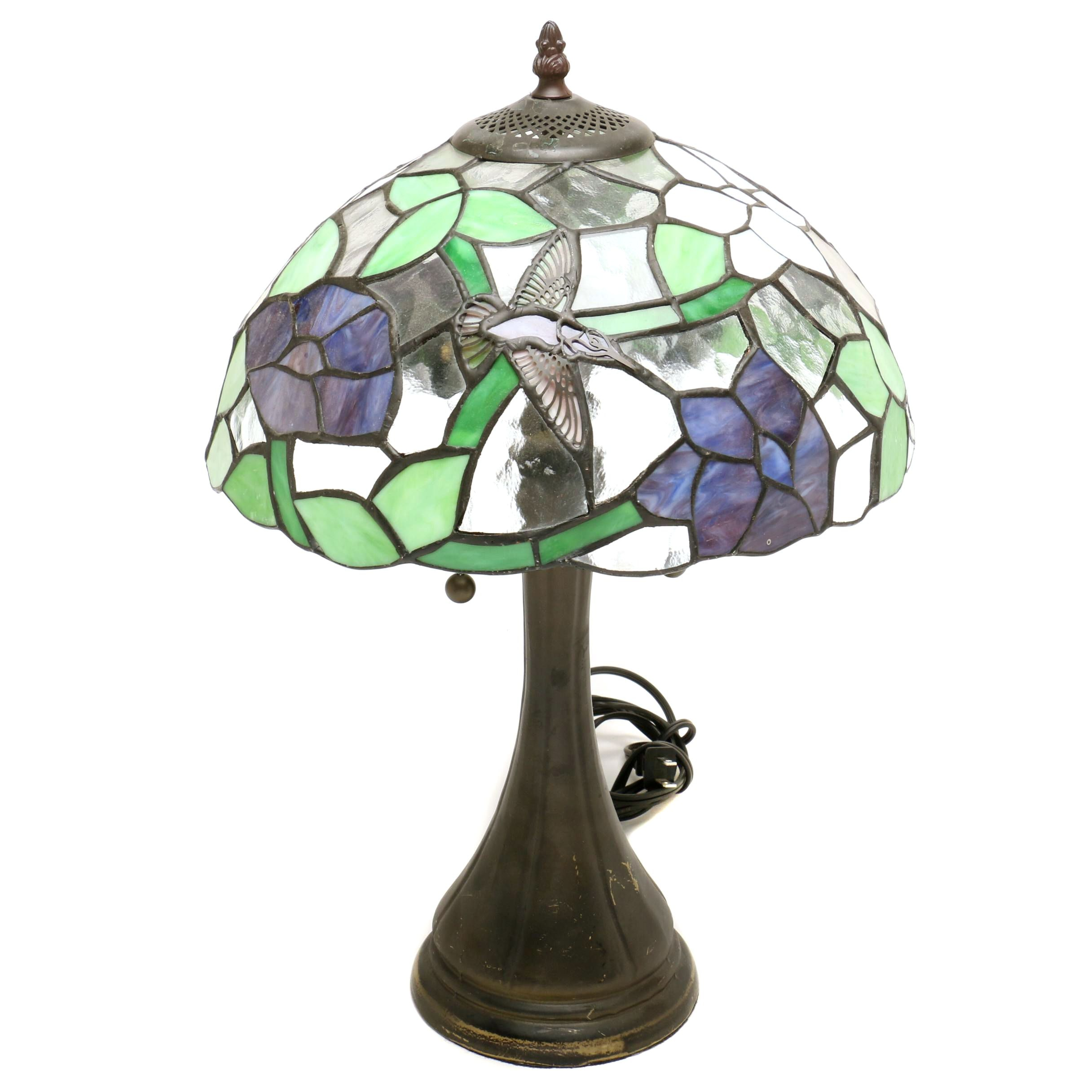 Stained Glass Hummingbird Table Lamp