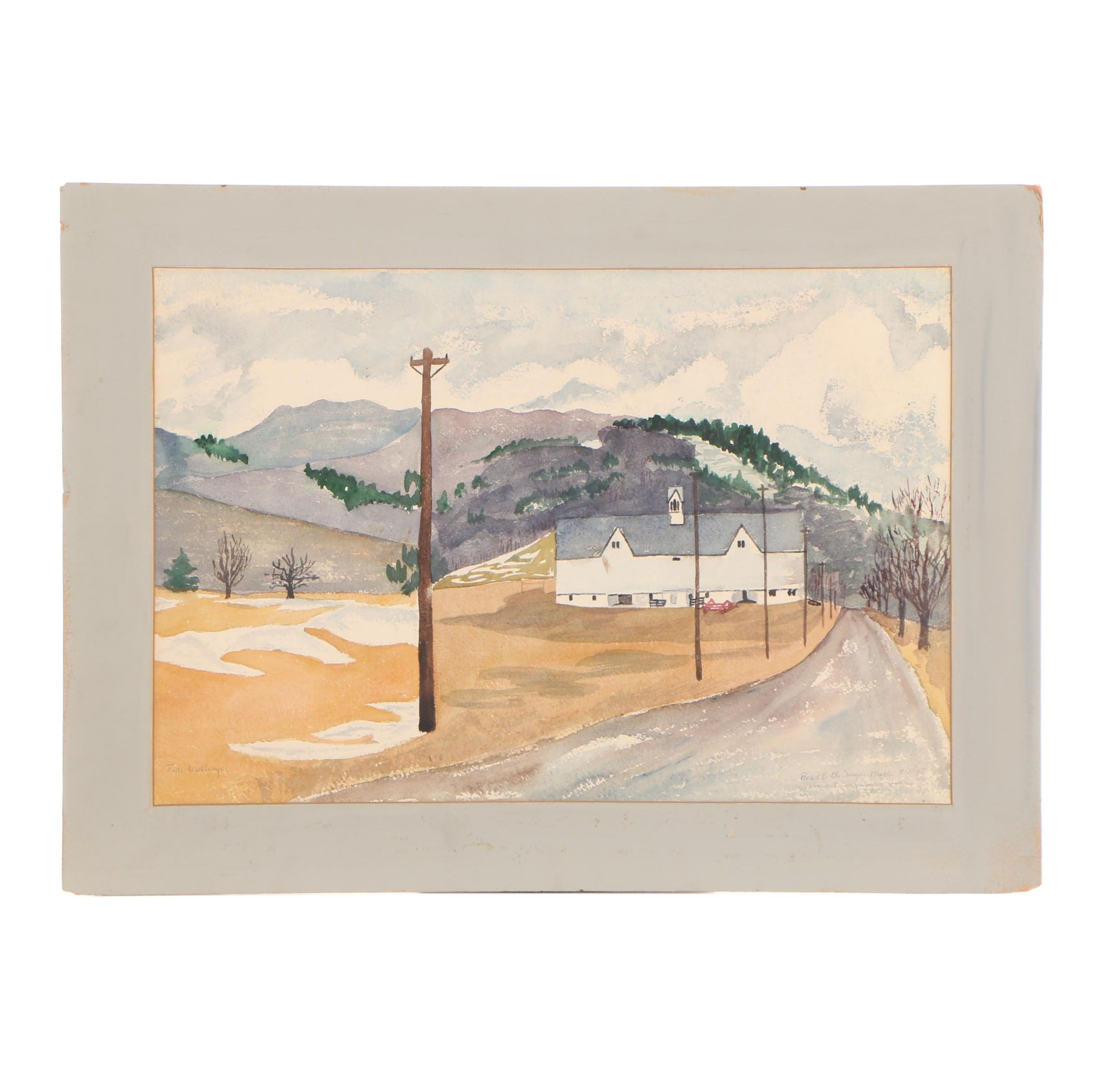 "Travis Neidlinger 1947 Gouache Painting ""Road to Sugar Bush Vermont"""